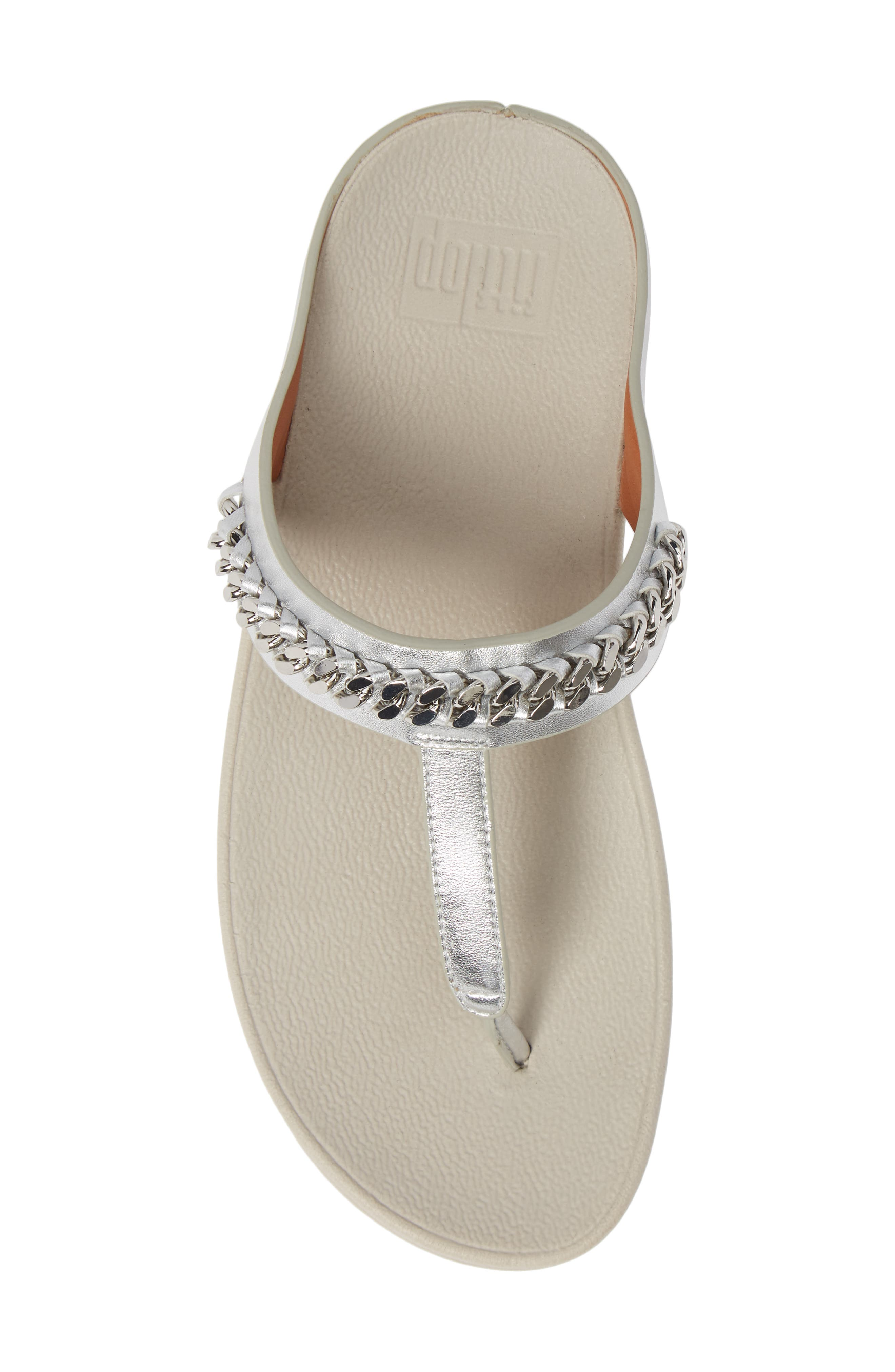 Fino Flip Flop,                             Alternate thumbnail 5, color,                             SILVER LEATHER