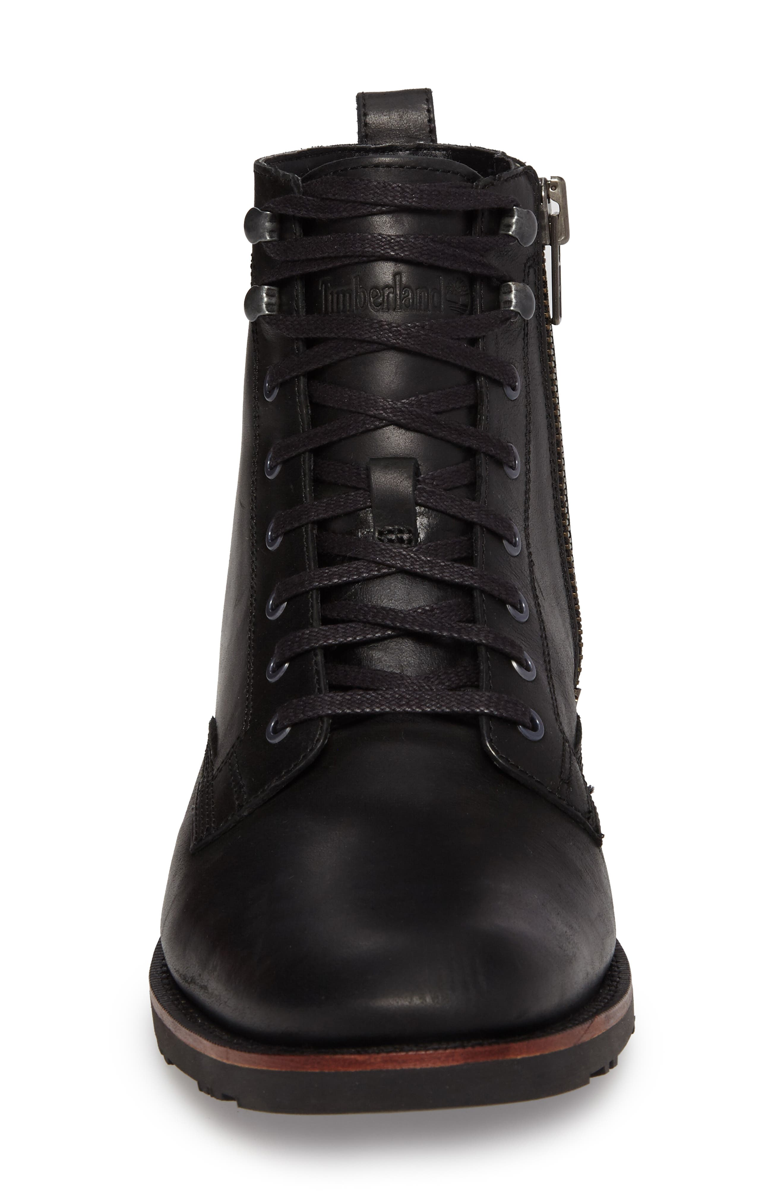 Kendrick Side Zip Leather Boot,                             Alternate thumbnail 4, color,                             001