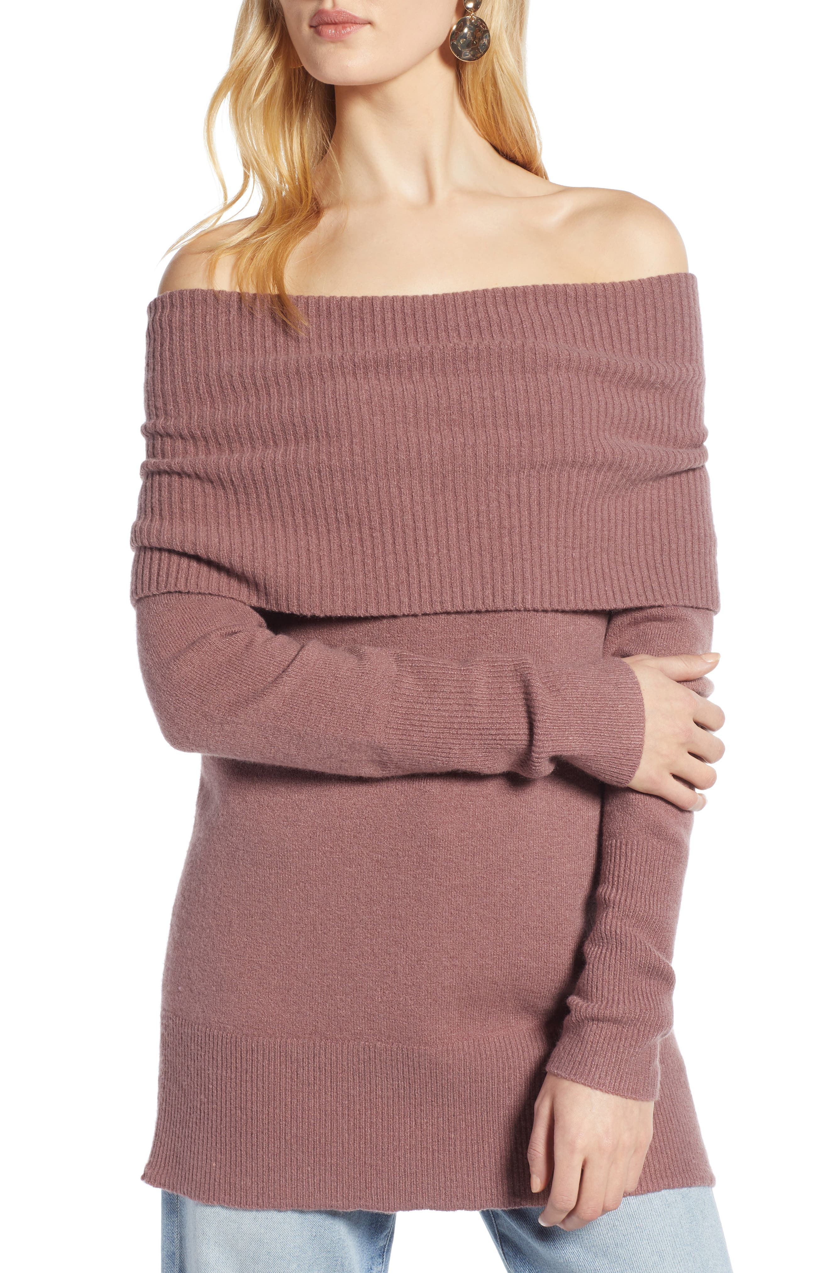 Convertible Neck Sweater,                         Main,                         color, PURPLE TAUPE