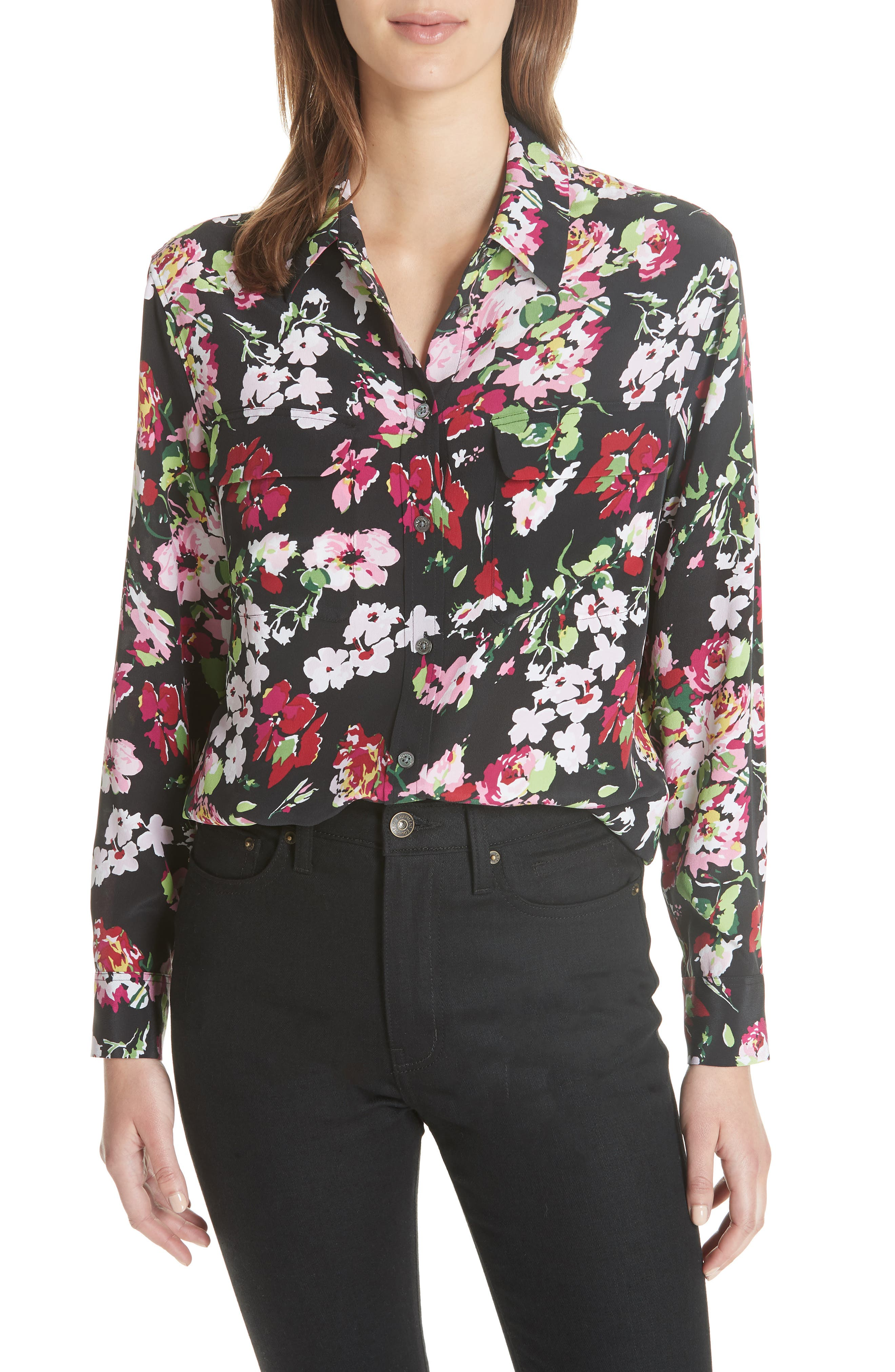 Signature Floral Silk Shirt,                         Main,                         color, 009