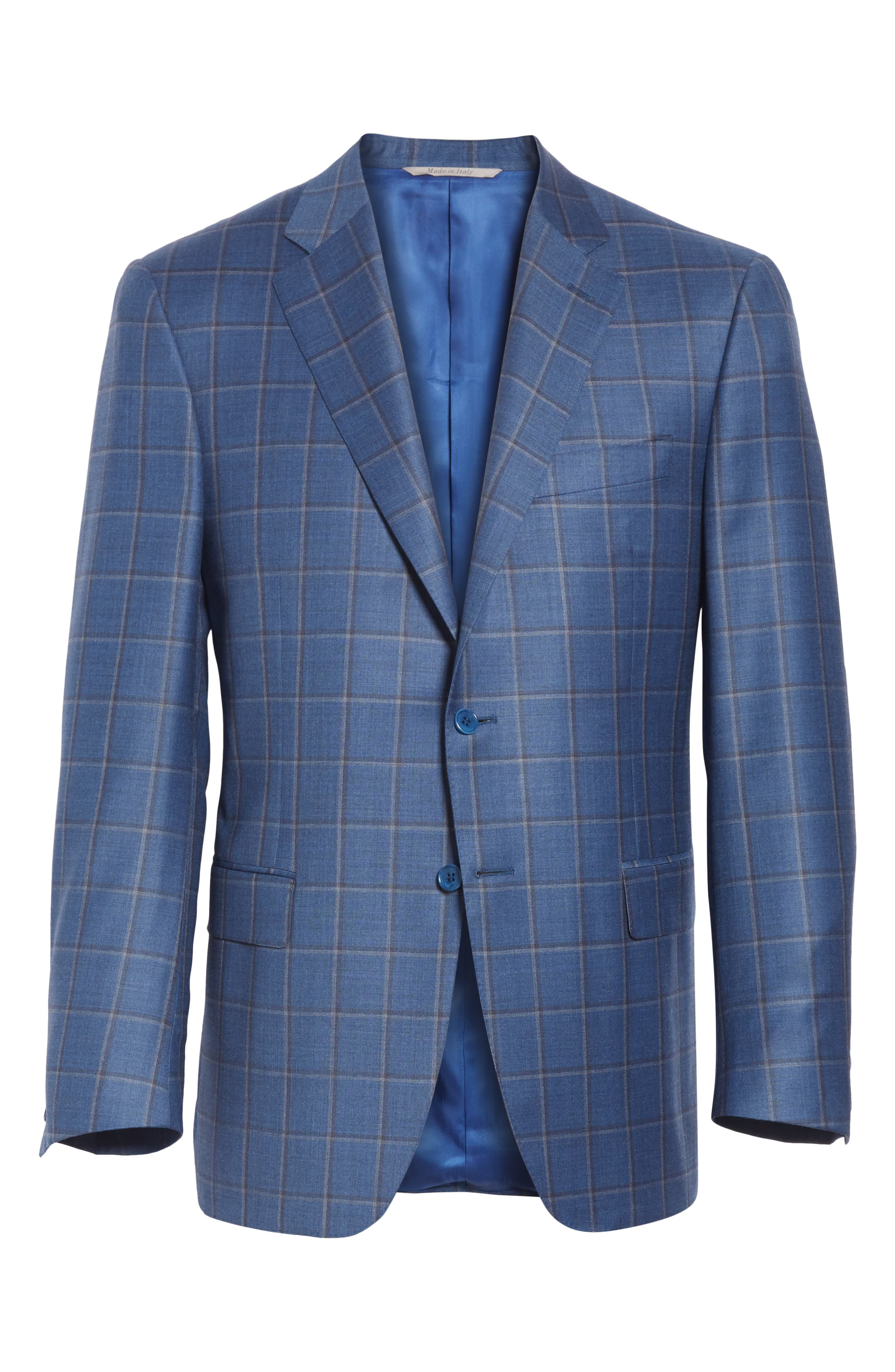 Classic Fit Windowpane Wool Sport Coat,                             Alternate thumbnail 5, color,                             BLUE