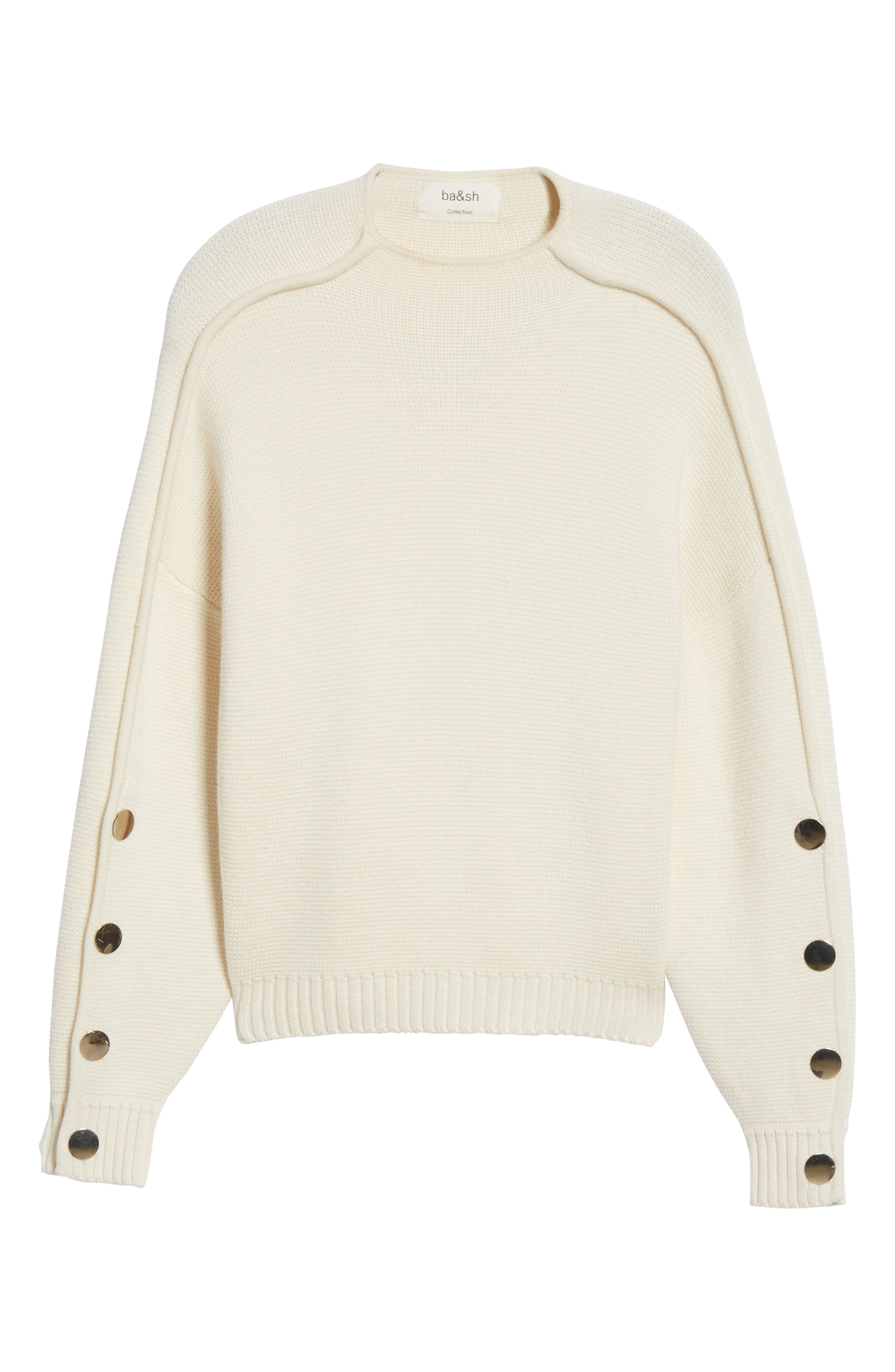 Astana Button Sleeve Waffle Weave Cotton Wool Sweater,                             Alternate thumbnail 6, color,                             900