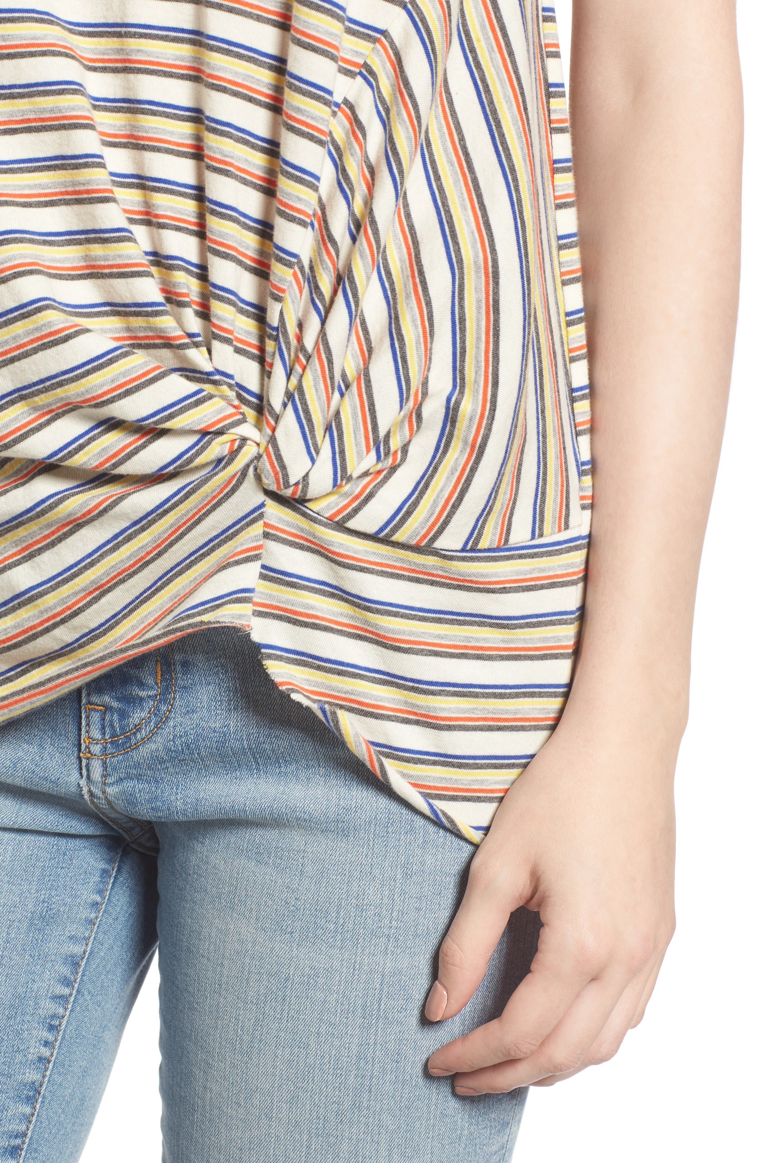 Stripe Twist Front Tee,                             Alternate thumbnail 4, color,