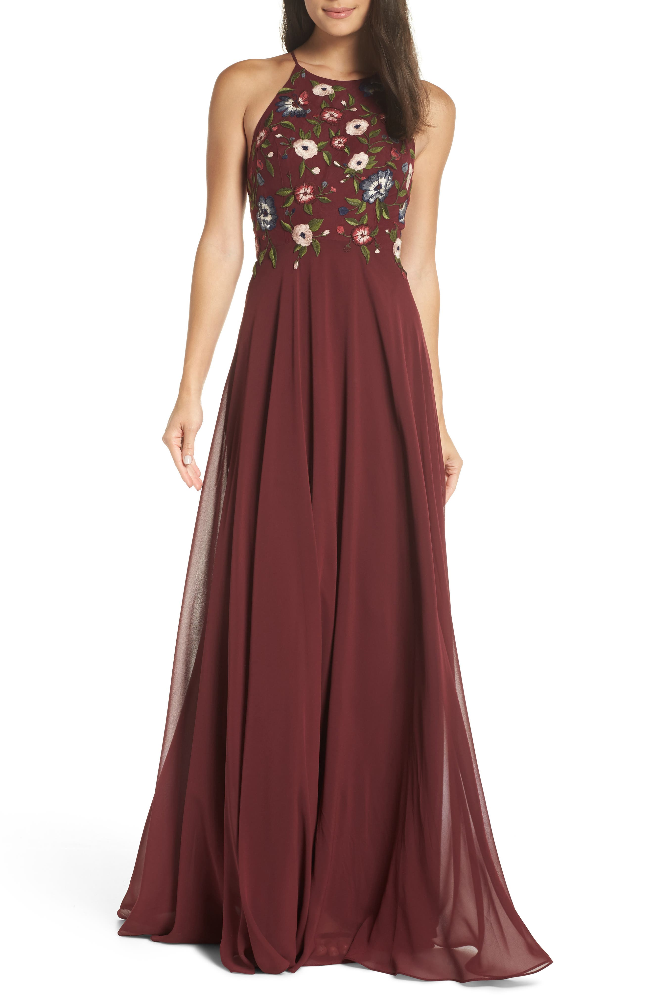 JENNY YOO Sophie Embroidered Luxe Chiffon Gown in Hibiscus Multi