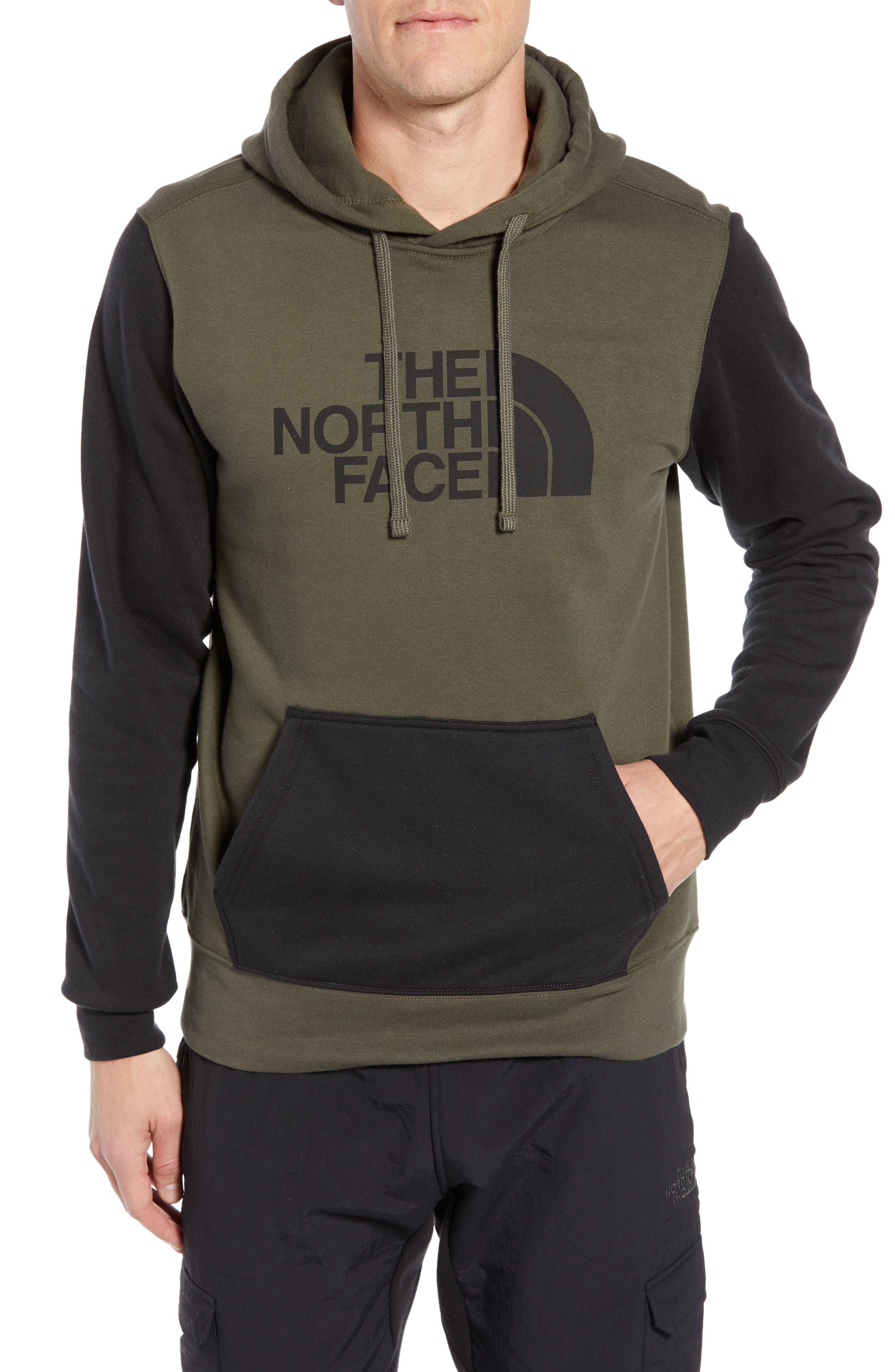 Holiday Half Dome Hooded Pullover,                         Main,                         color, NEW TAUPE GREEN/ TNF BLACK