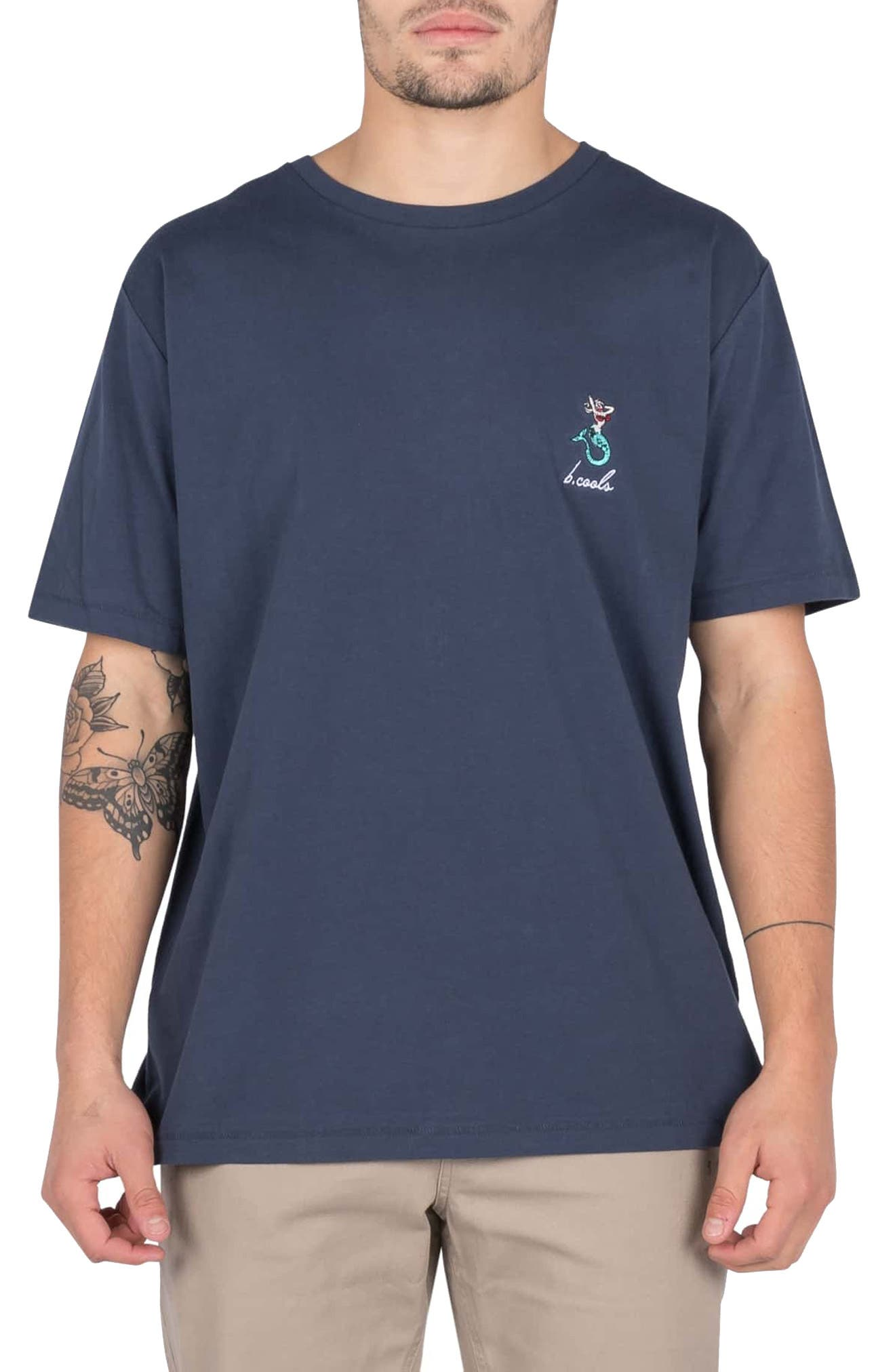 BARNEY COOLS Embroidered Mermaid T-Shirt in Slate Blue