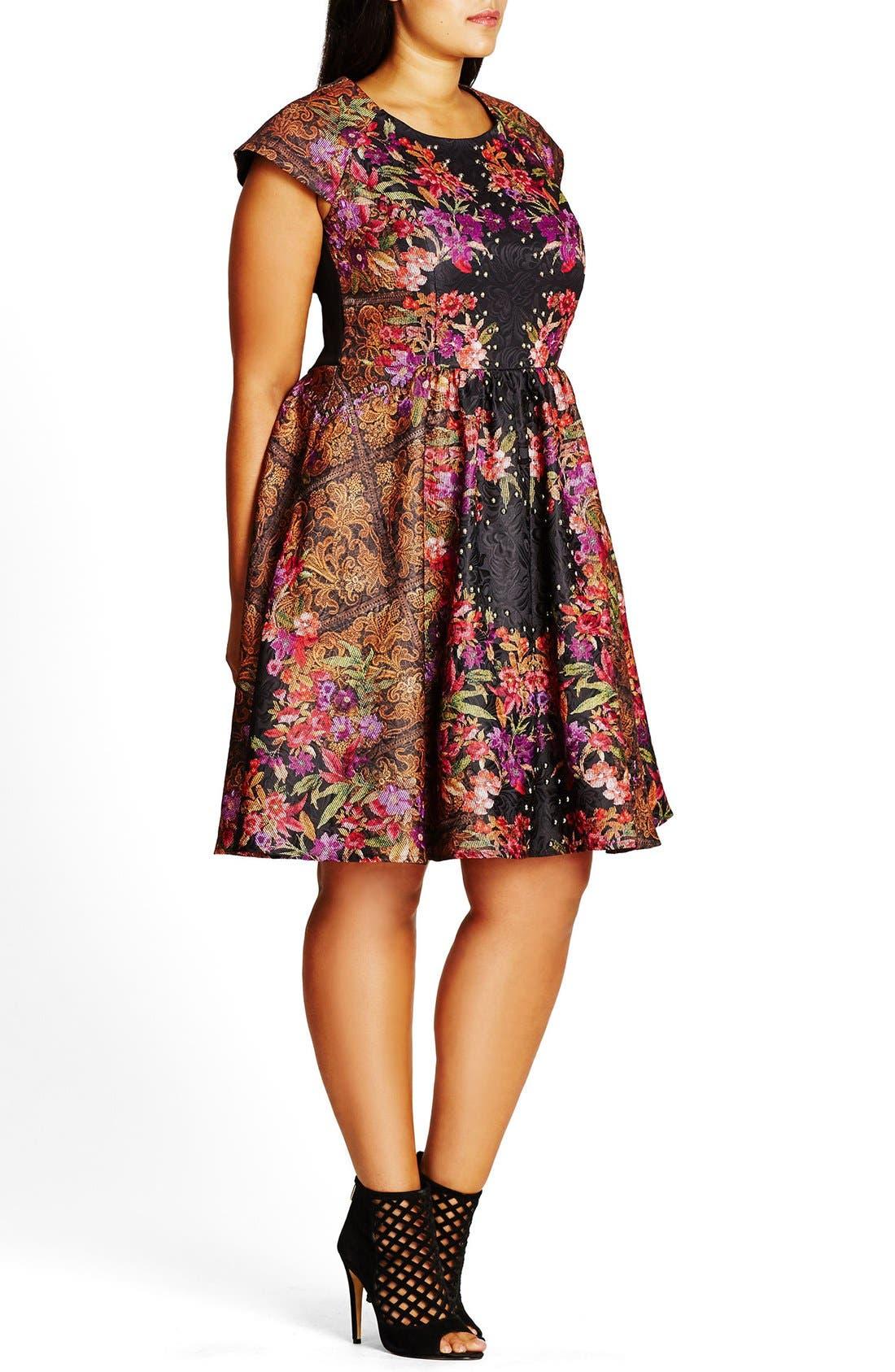 'Femme Royale' Fit & Flare Dress,                             Alternate thumbnail 3, color,
