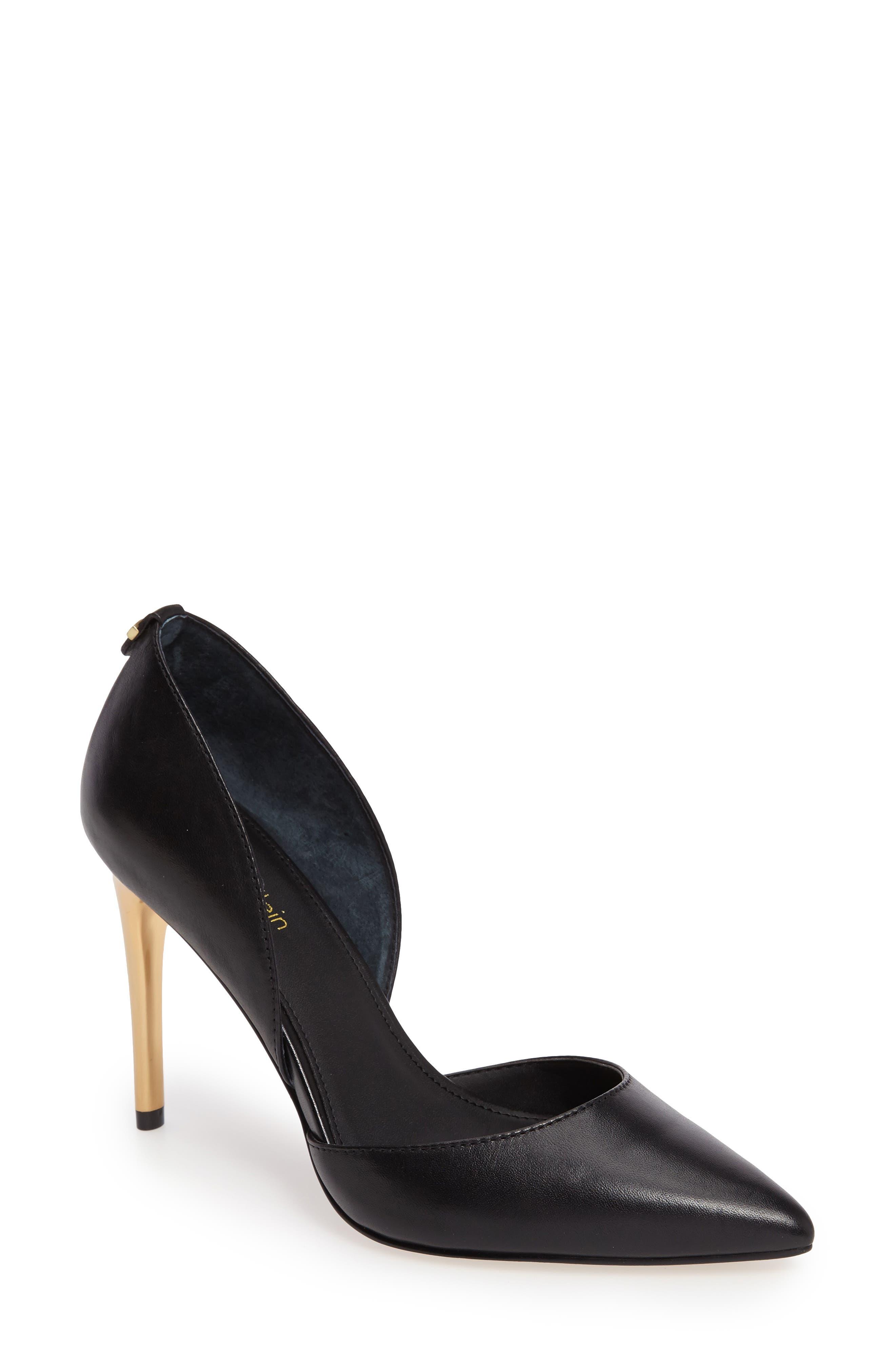 Sebrina Metallic Heel d'Orsay Pump, Main, color, 002