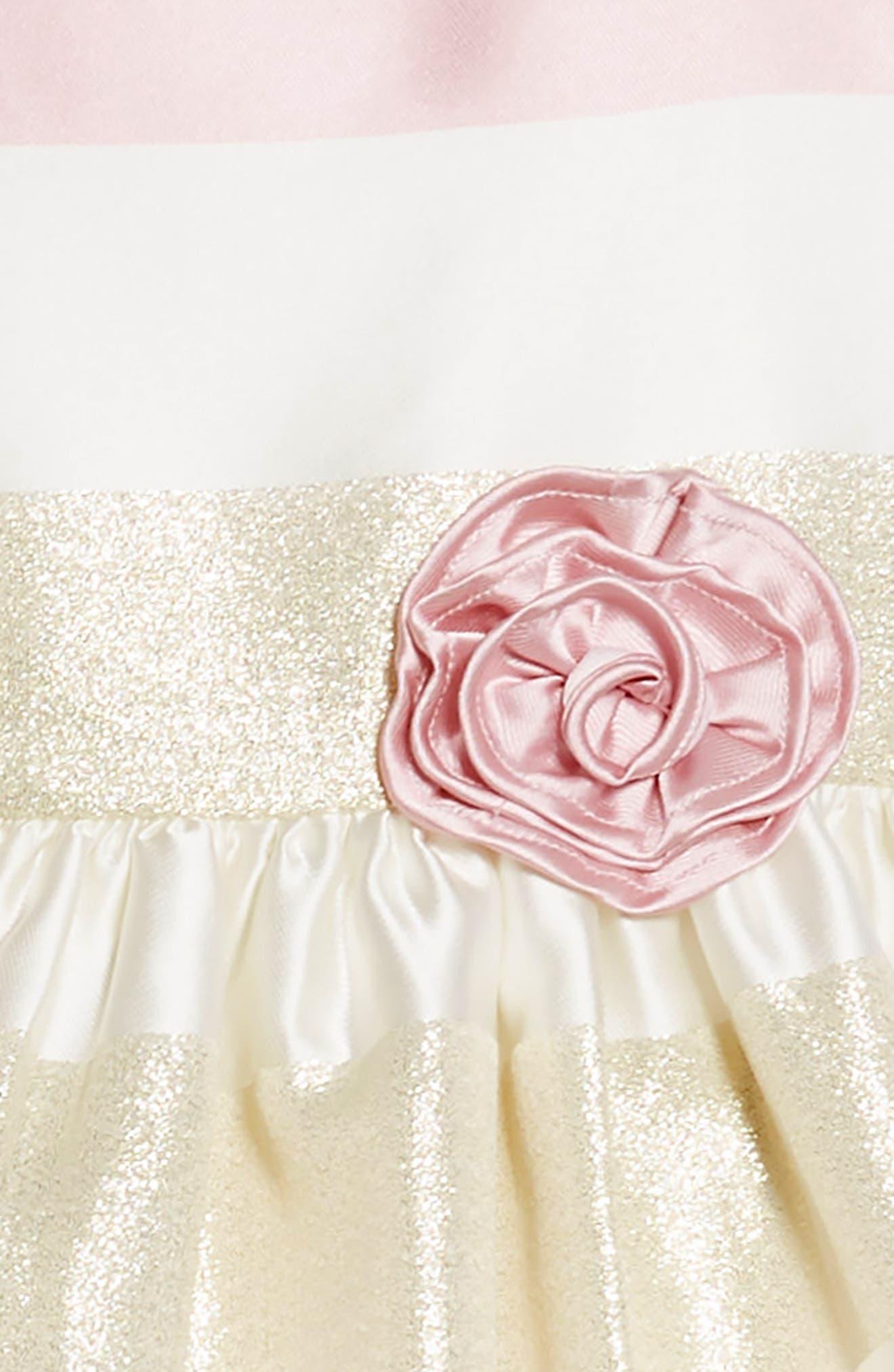Metallic Stripe Fit & Flare Dress,                             Alternate thumbnail 3, color,