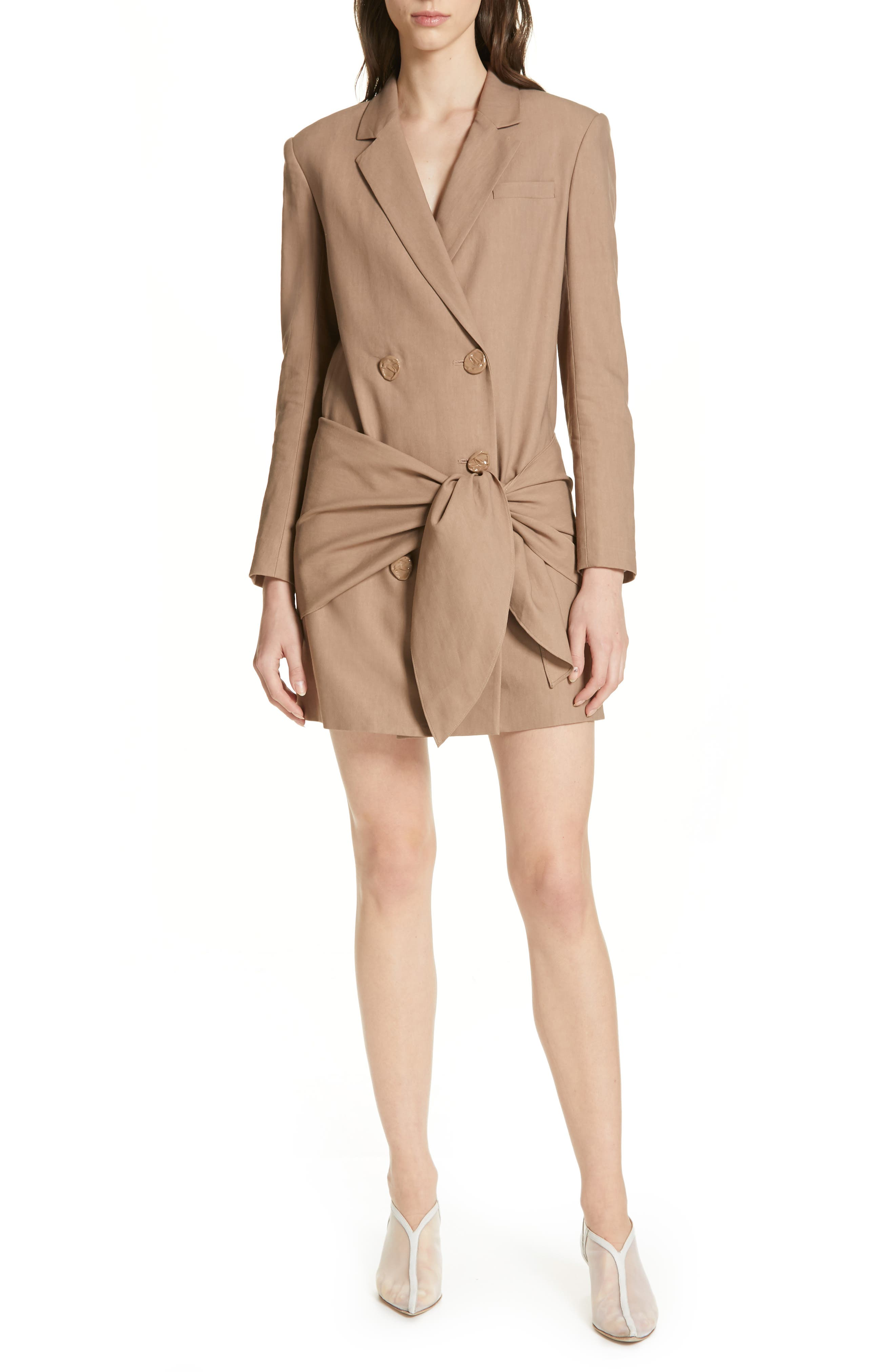 Tibi Tie Waist Blazer Dress, Brown