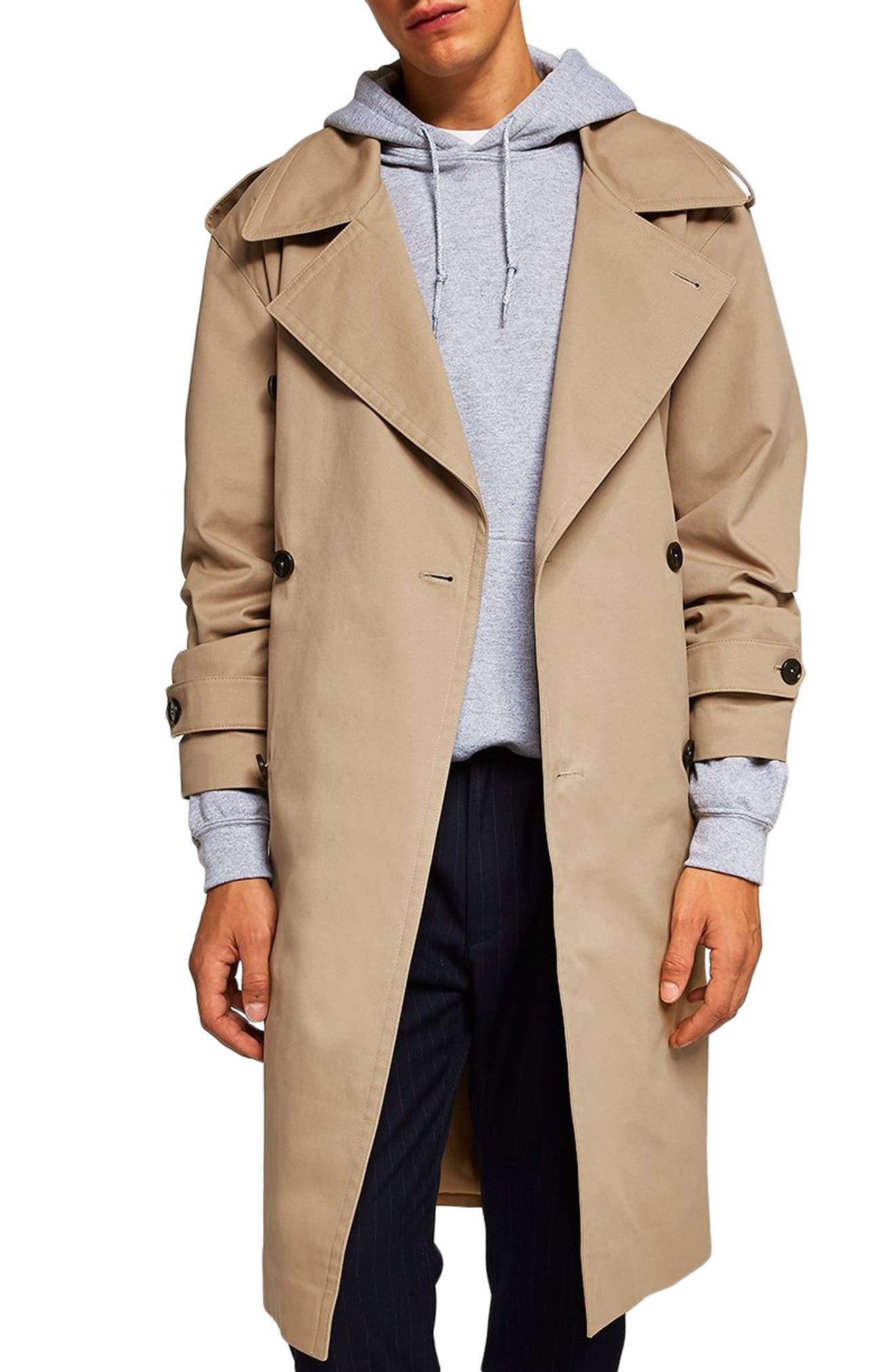 Double Breasted Trench Coat,                             Main thumbnail 1, color,                             STONE