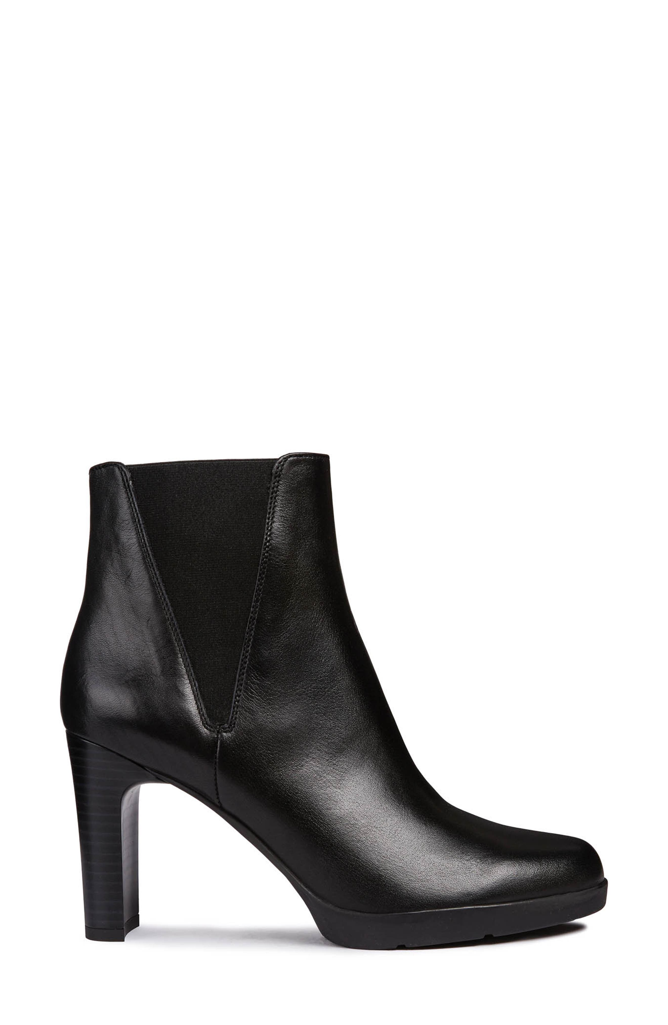 Annya Bootie,                             Alternate thumbnail 3, color,                             BLACK LEATHER