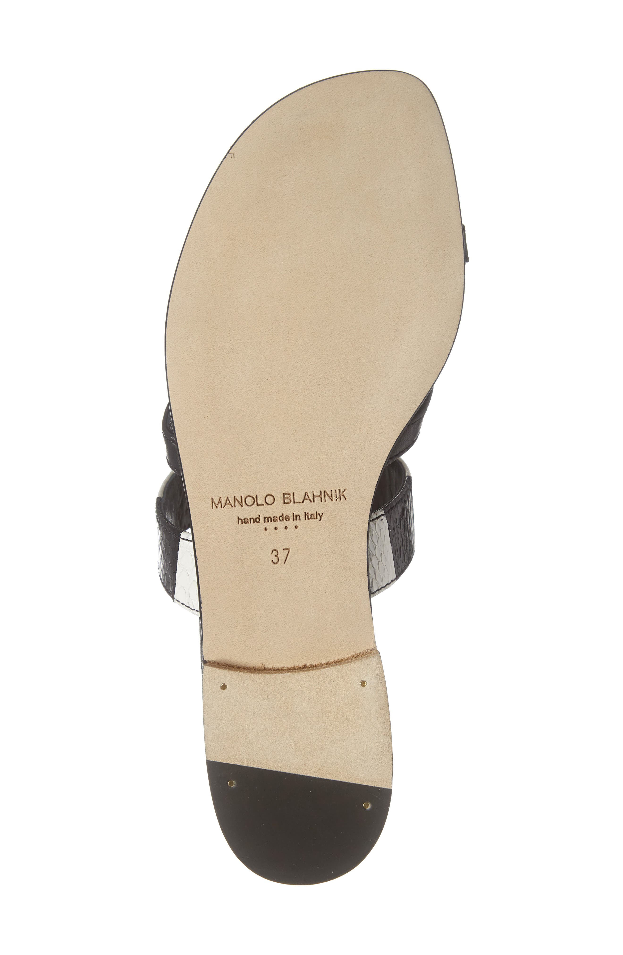 MANOLO BLAHNIK,                             Susa Genuine Snakeskin Sandal,                             Alternate thumbnail 6, color,                             BLACK/ WHITE LEATHER