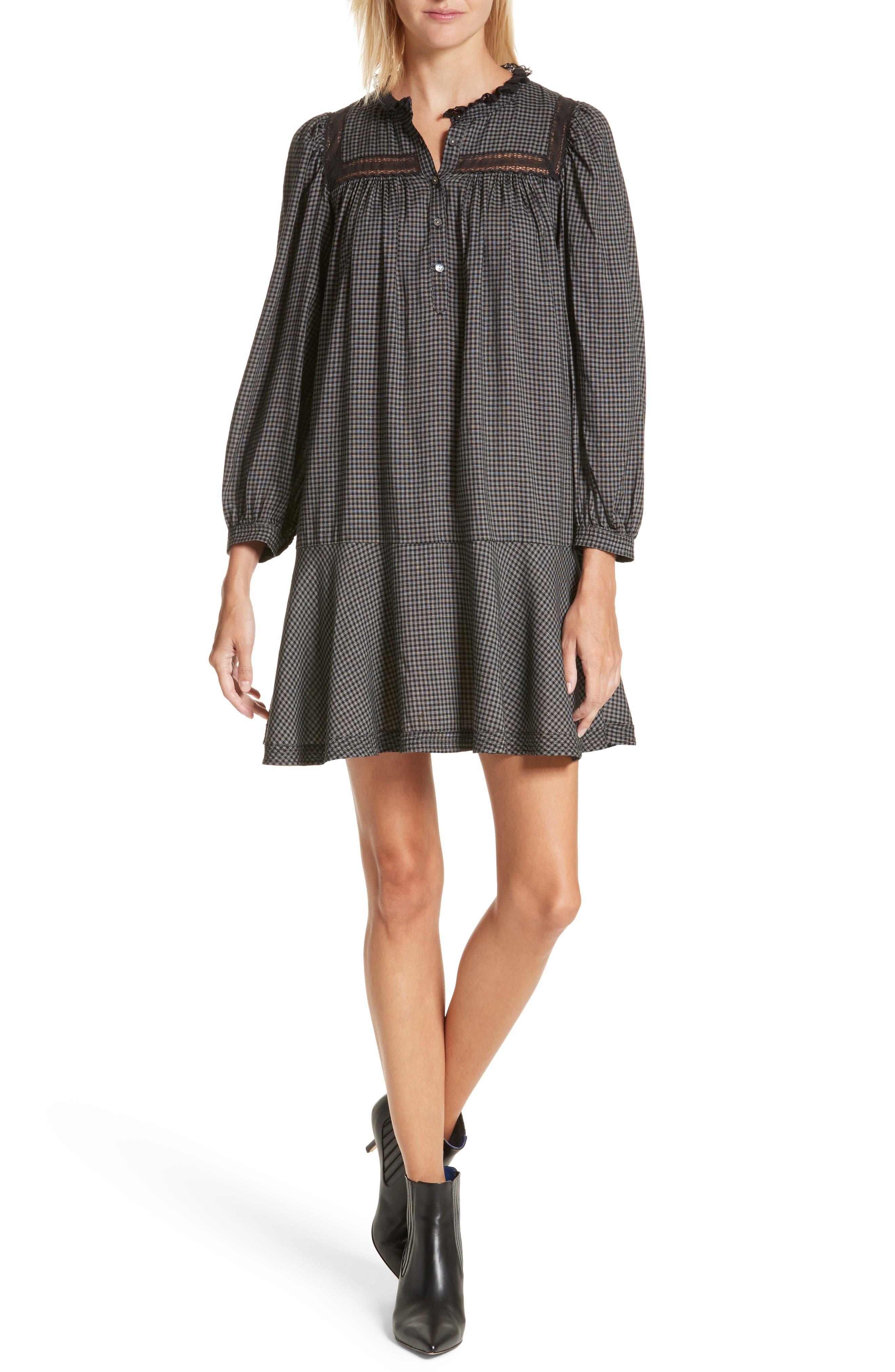 Drop Waist Plaid Dress,                         Main,                         color,