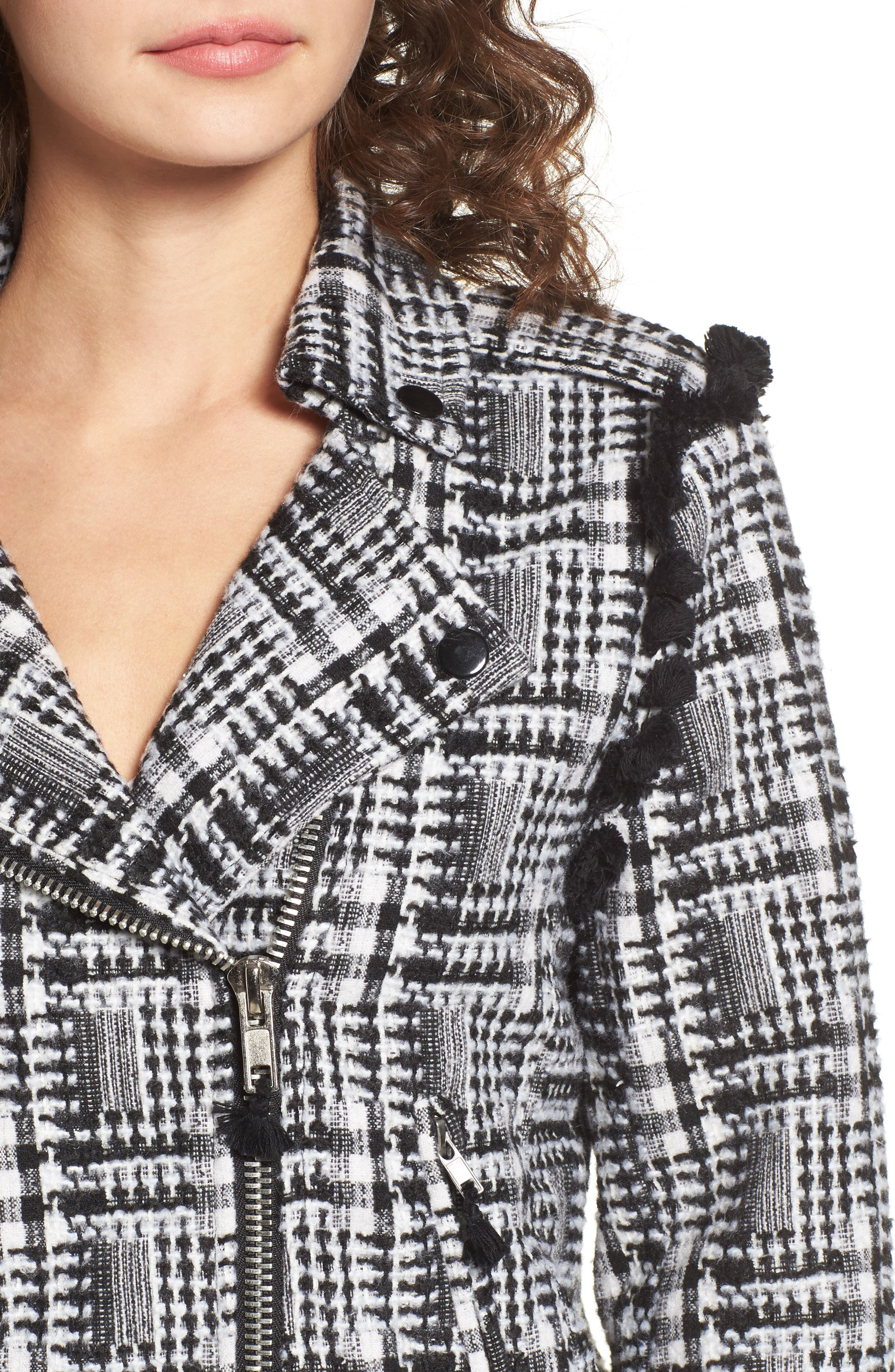 Tweed Moto Jacket,                             Alternate thumbnail 4, color,                             002