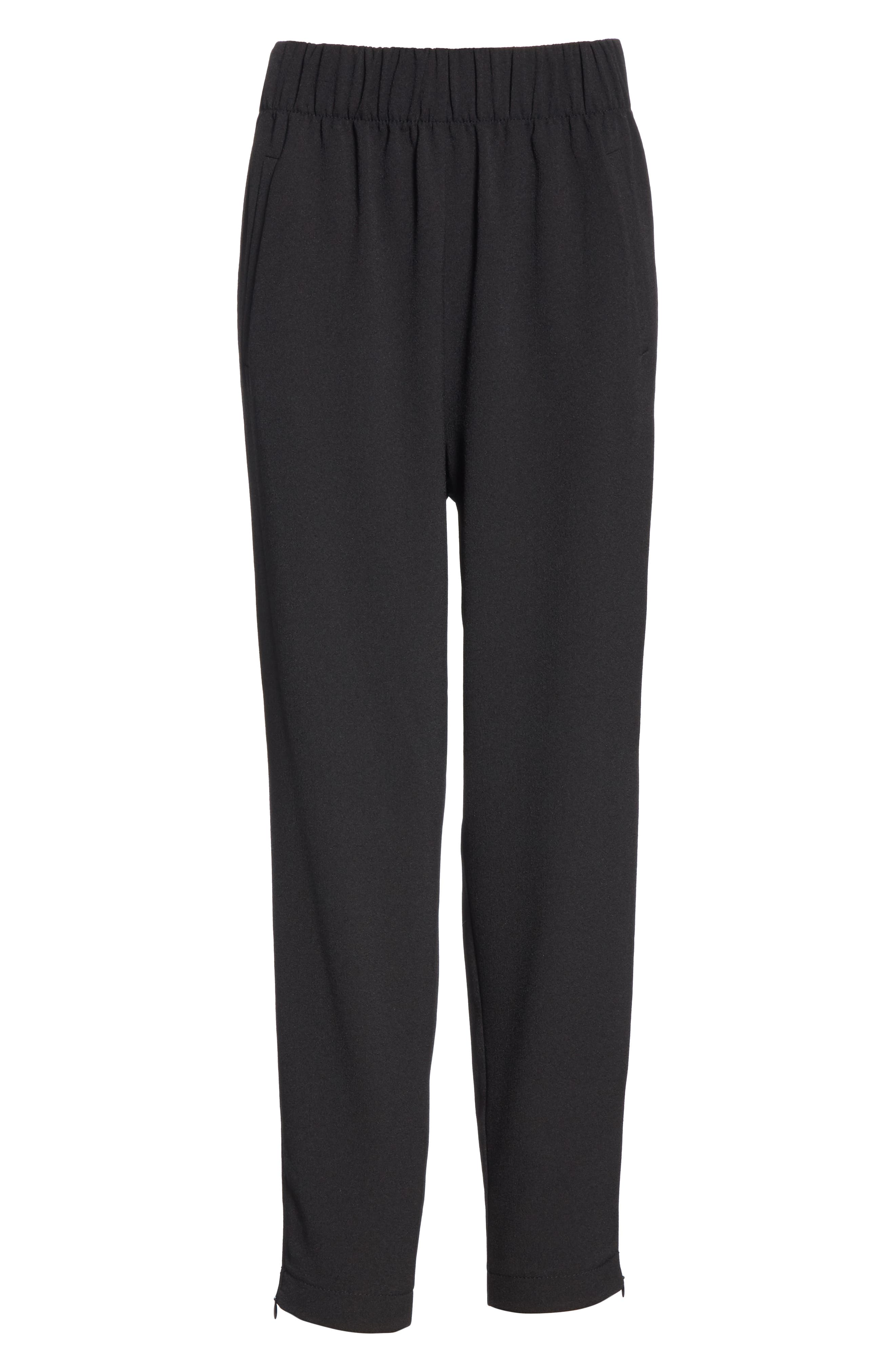 Crepe Pants,                             Alternate thumbnail 6, color,                             BLACK 099