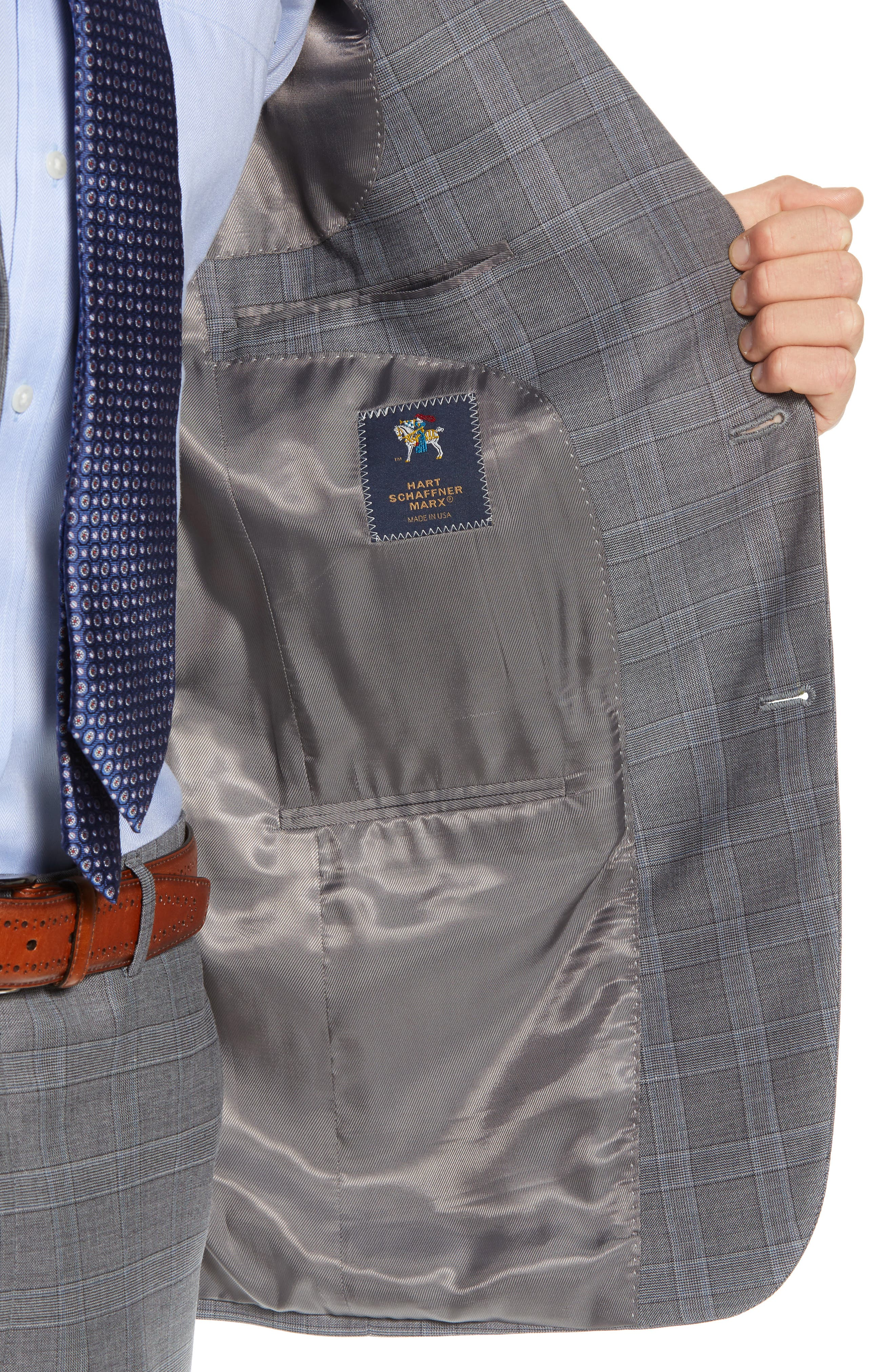 New York Classic Fit Plaid Wool Suit,                             Alternate thumbnail 4, color,                             MID GREY