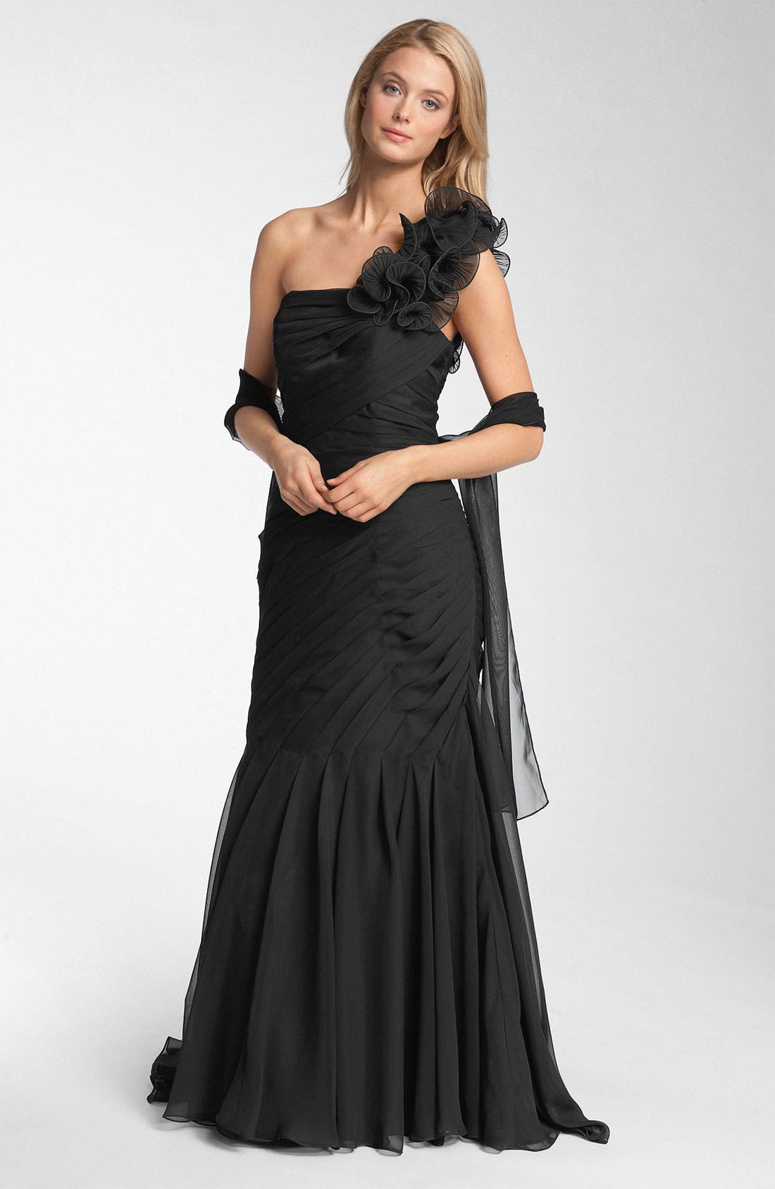 Veni Infantino Pleated One Shoulder Ruffle Gown, Main, color, 001