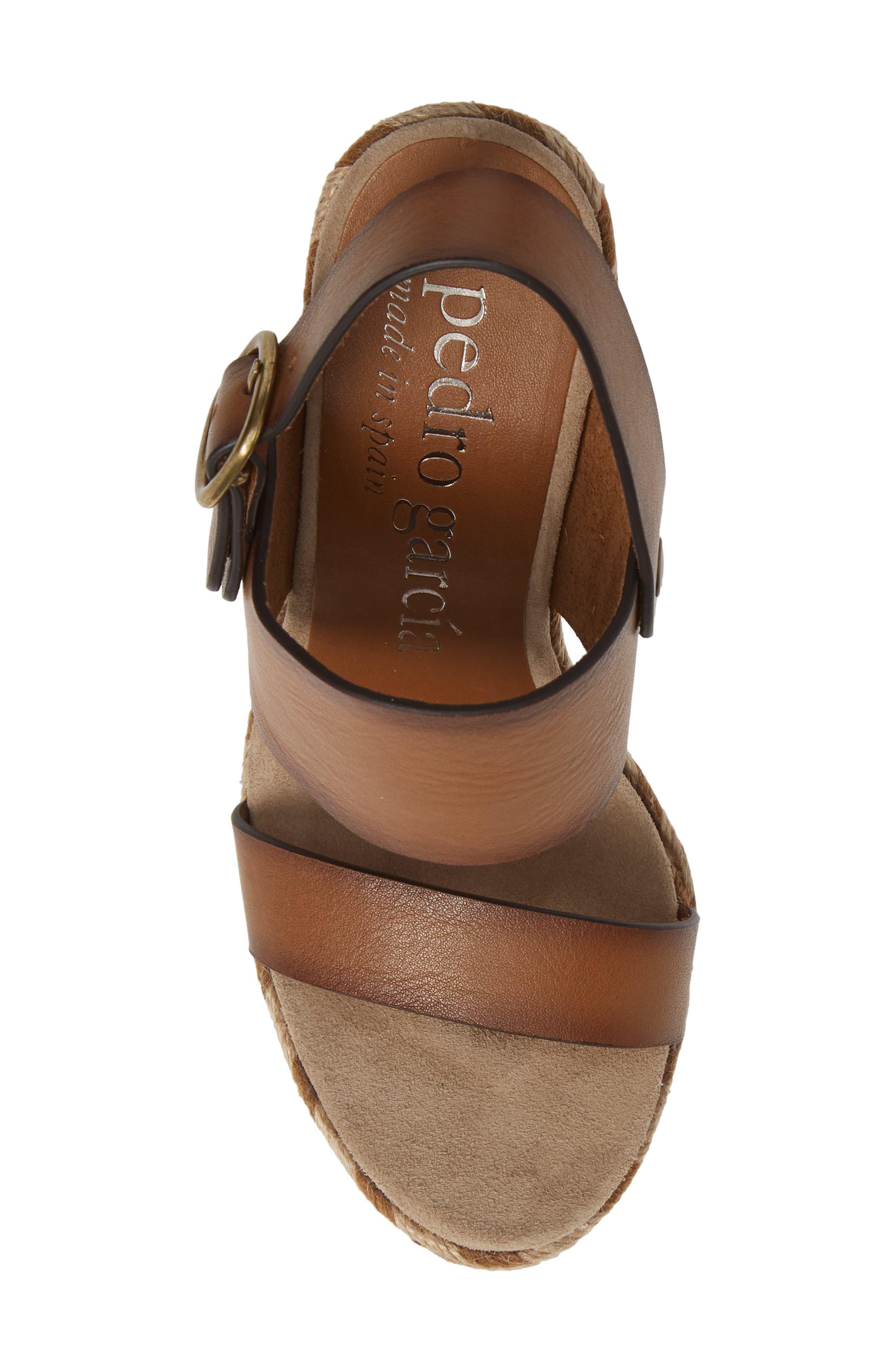 Tait Woven Wedge Sandal,                             Alternate thumbnail 5, color,                             CIGAR VACCHETTA