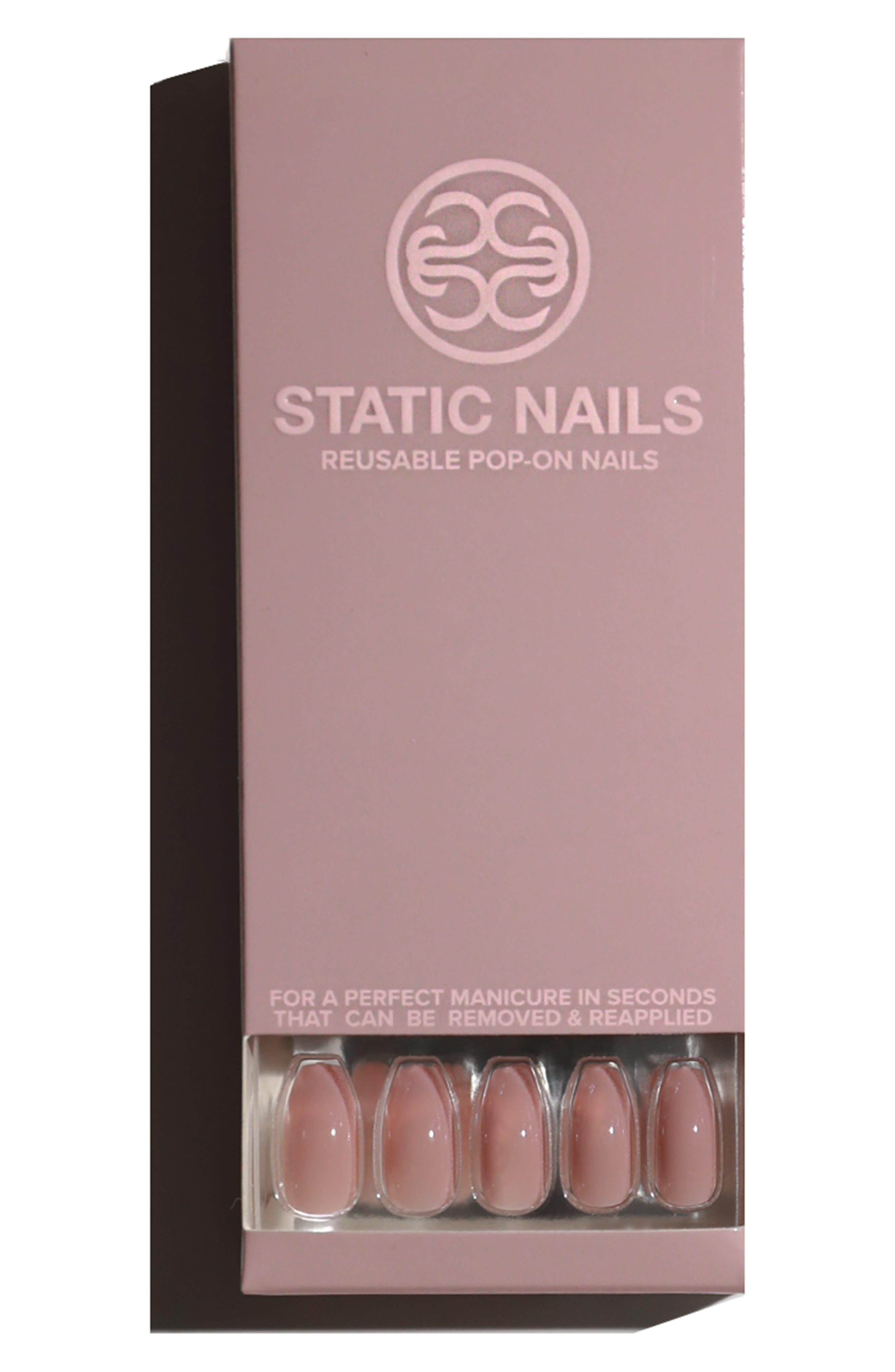 STATIC NAILS,                             Peony Pop-On Reusable Manicure Set,                             Alternate thumbnail 2, color,                             PEONY