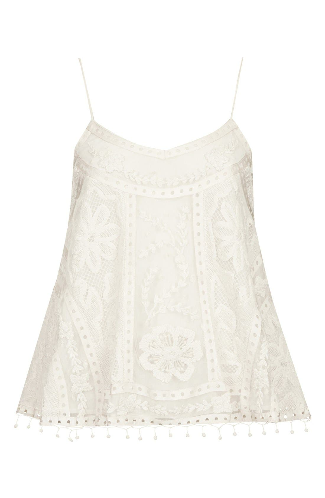 Kate Moss for Topshop Lace Swing Camisole,                             Alternate thumbnail 2, color,