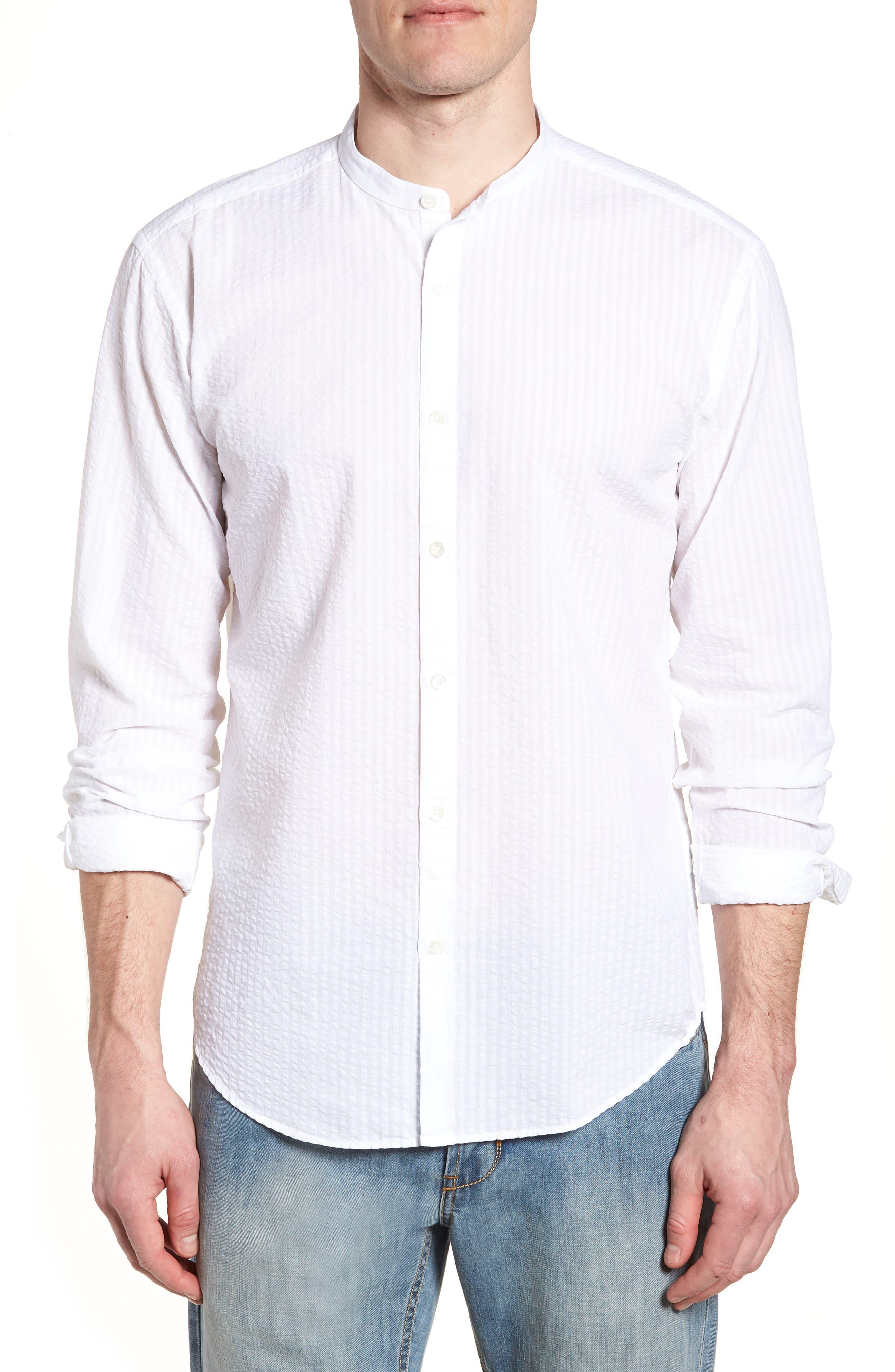 Shaped Fit Band Collar Seersucker Sport Shirt,                         Main,                         color, 100