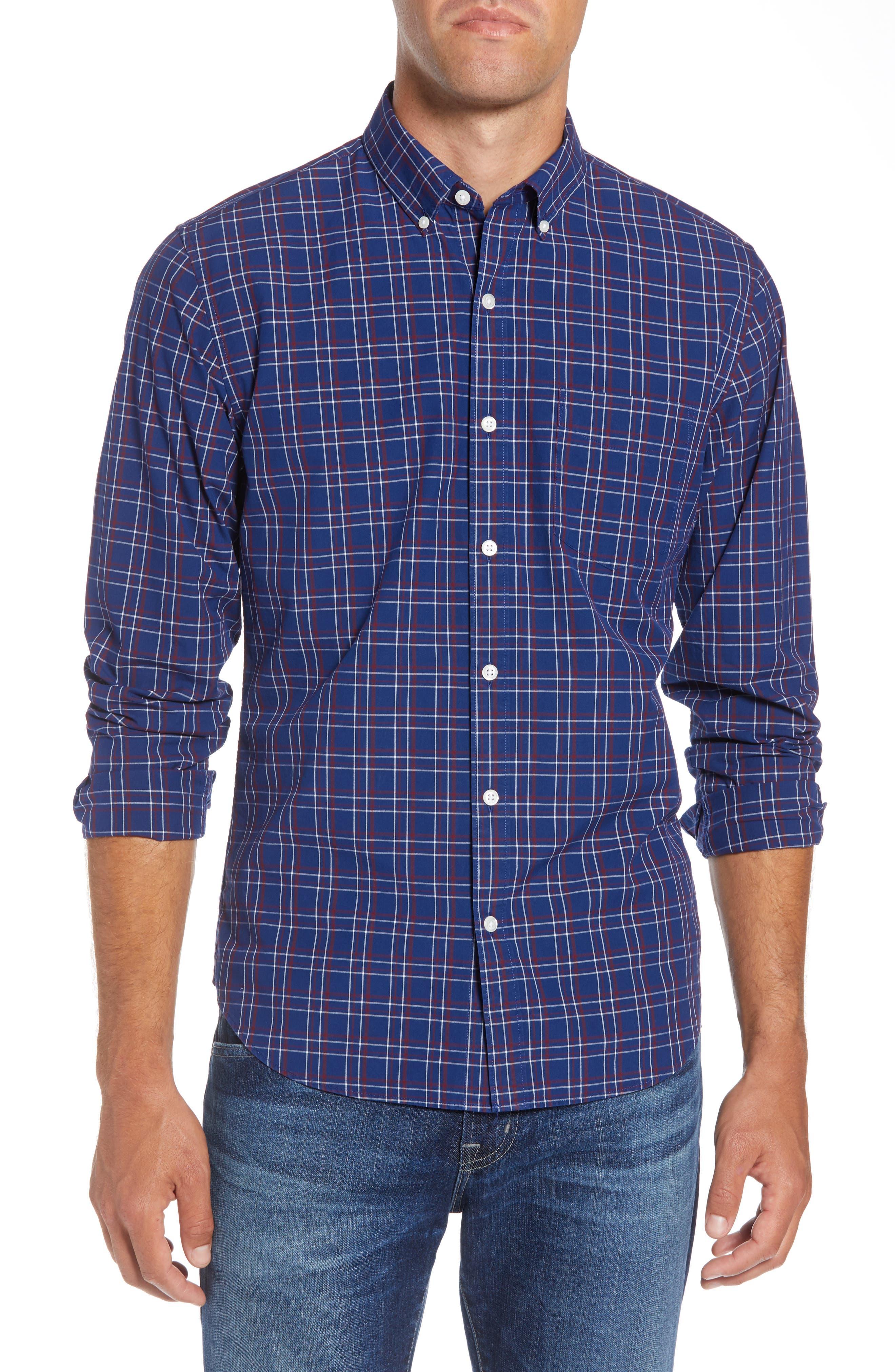 Slim Fit Washed Check Sport Shirt,                         Main,                         color, CALVIN CHECK - BLUE CORN