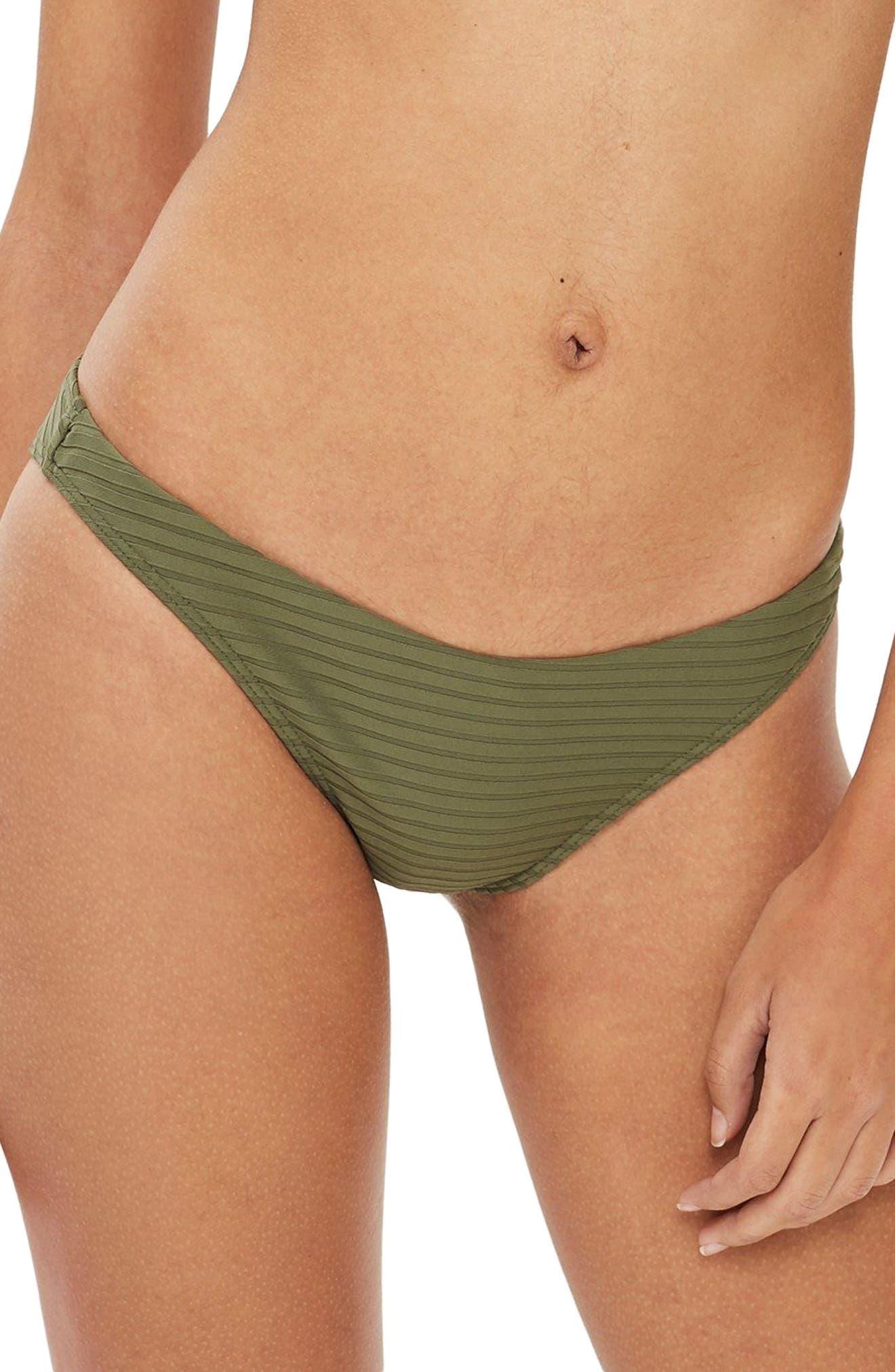 Wide Ribbed High Leg Bikini Bottoms,                             Main thumbnail 2, color,