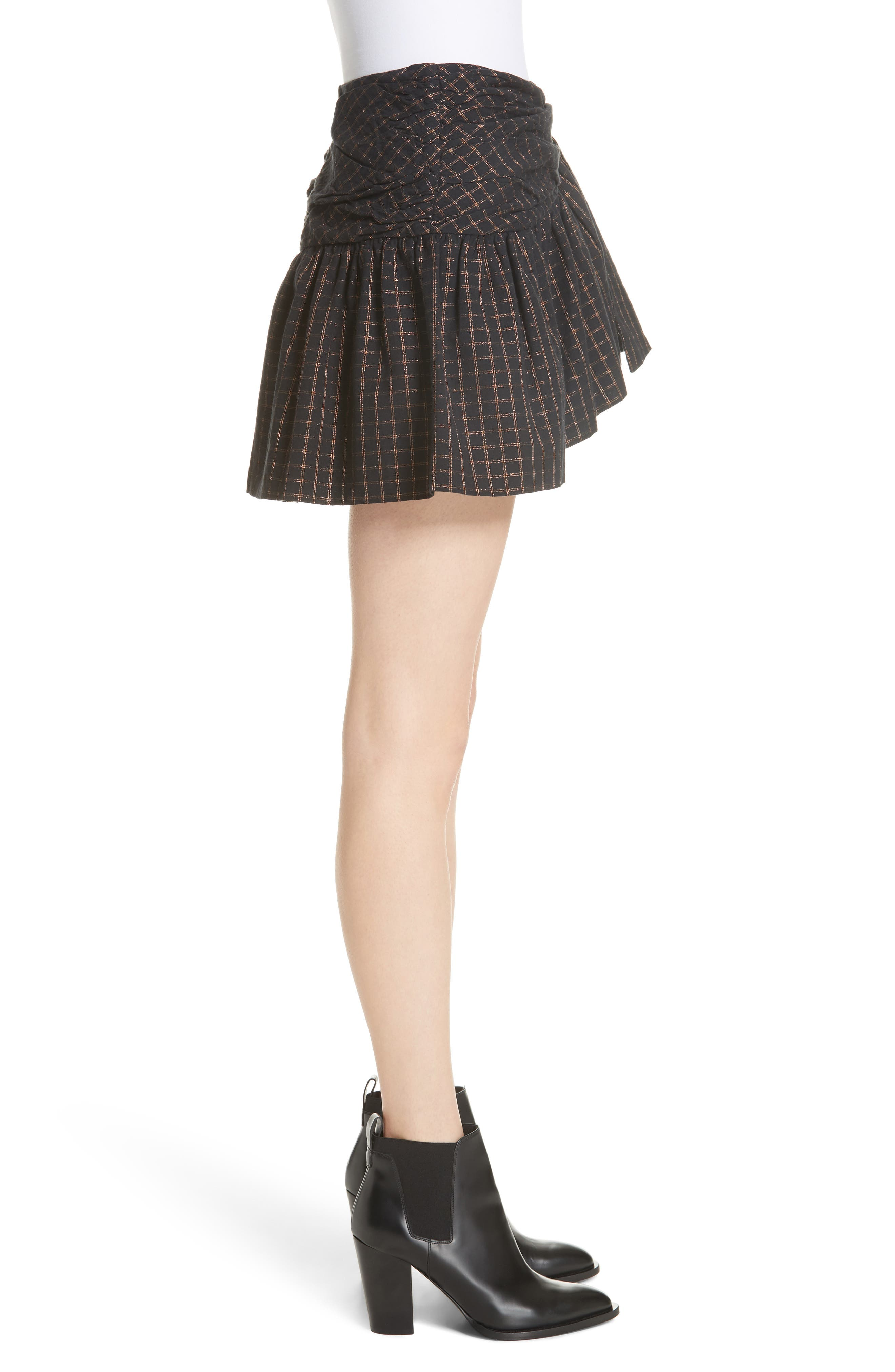 Sylvia Faux Wrap Mini Skirt,                             Alternate thumbnail 3, color,                             BLACK