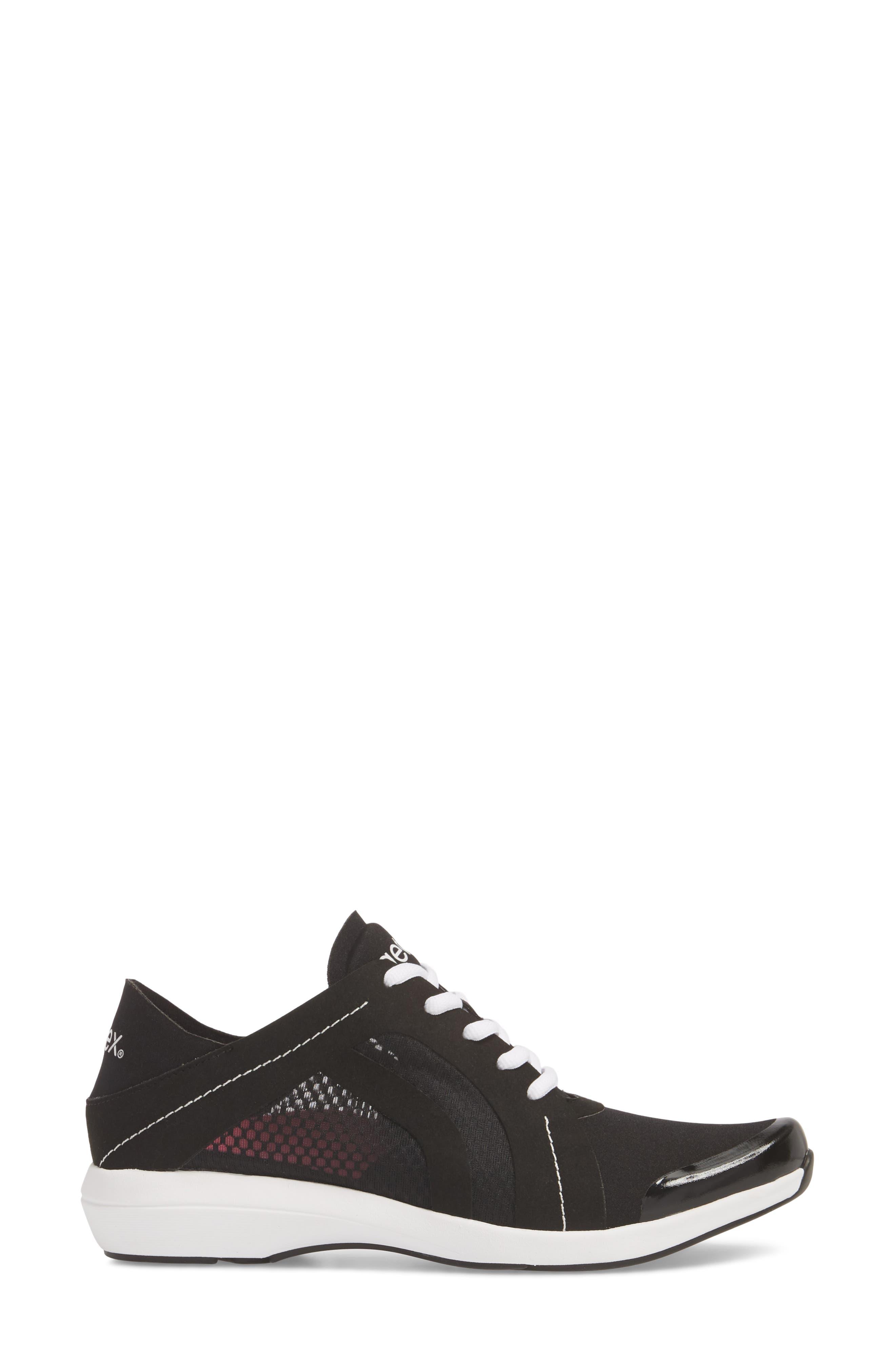 Sloane Sneaker,                             Alternate thumbnail 3, color,                             BLACK FABRIC