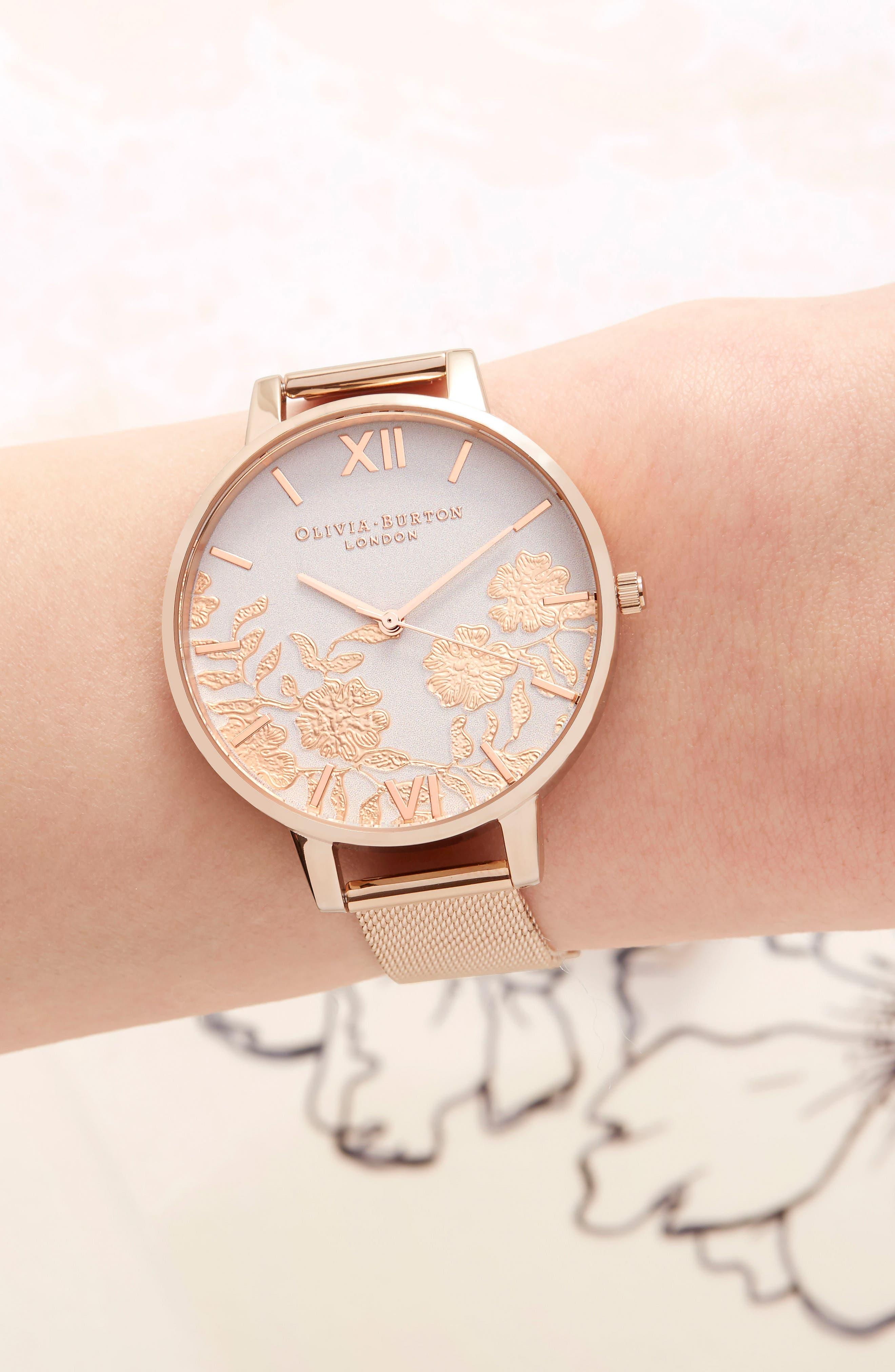 Lace Detail Mesh Strap Watch, 38mm,                             Alternate thumbnail 6, color,                             ROSE GOLD/ BLUSH/ ROSE GOLD