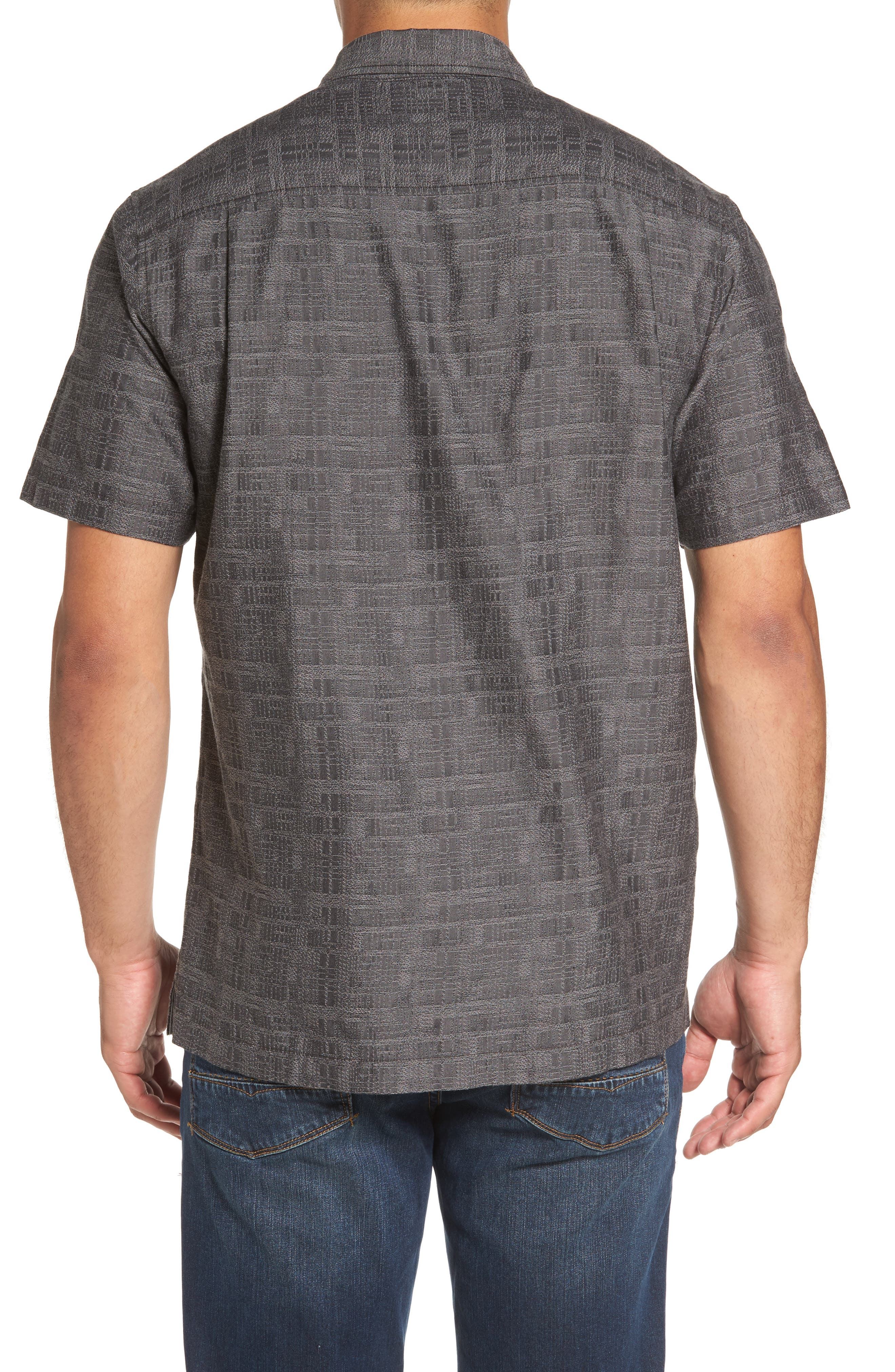 Getaway Grid Silk Blend Camp Shirt,                             Alternate thumbnail 2, color,                             001