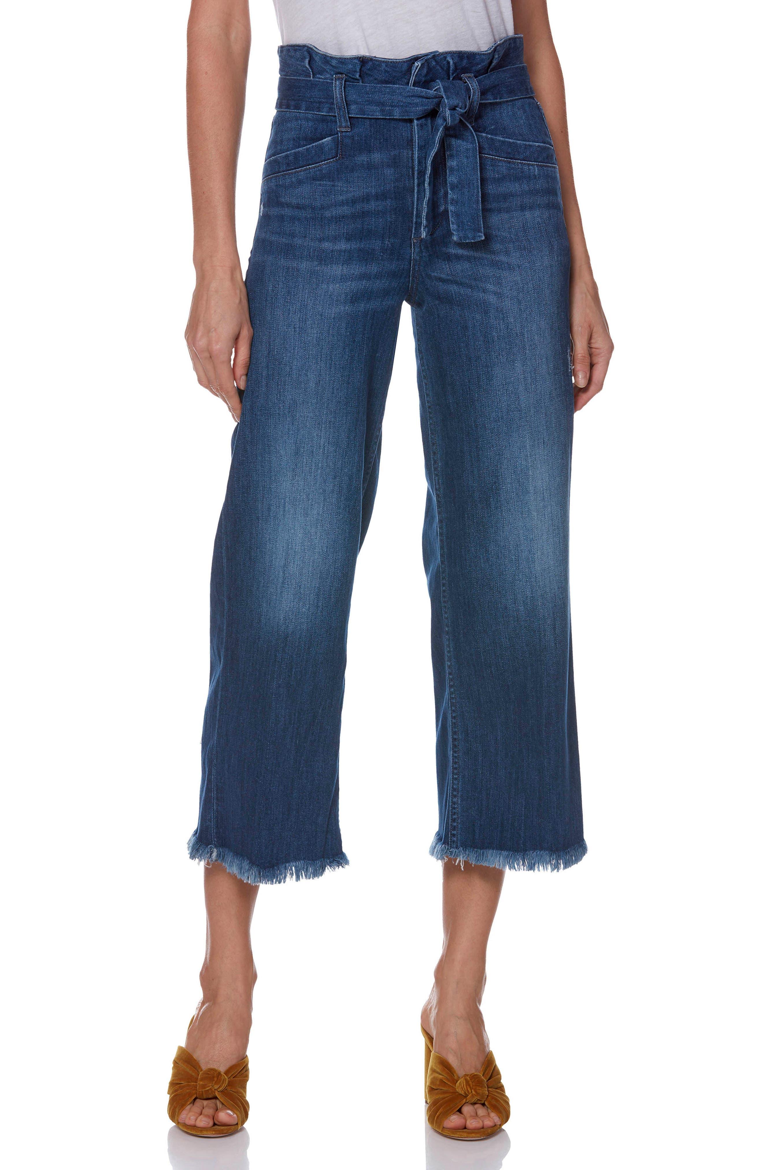 Sutton Paperbag High Waist Crop Wide Leg Jeans,                             Main thumbnail 1, color,                             400