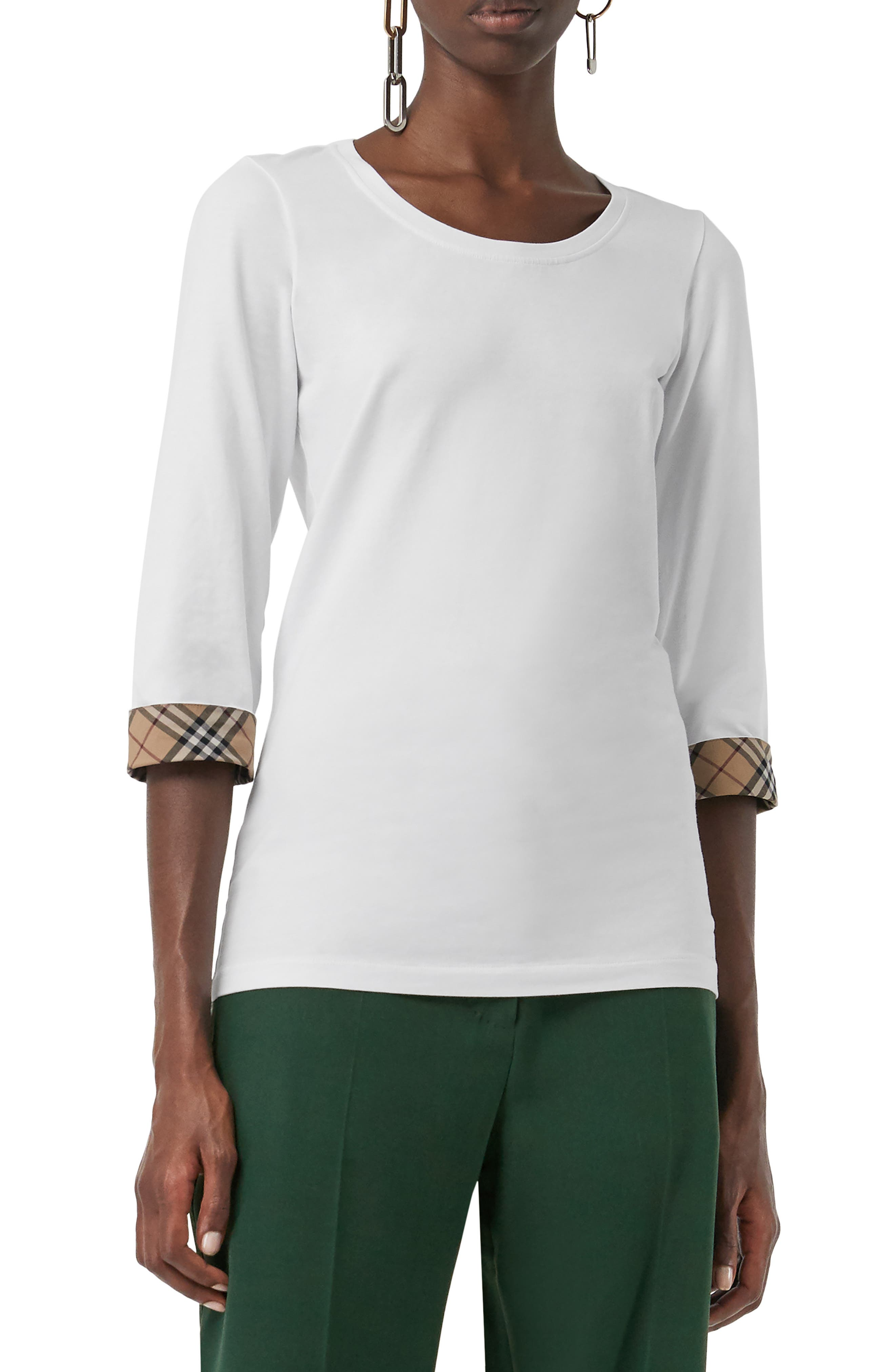 Lohit Check Cuff Stretch Cotton Tee,                             Alternate thumbnail 7, color,                             100