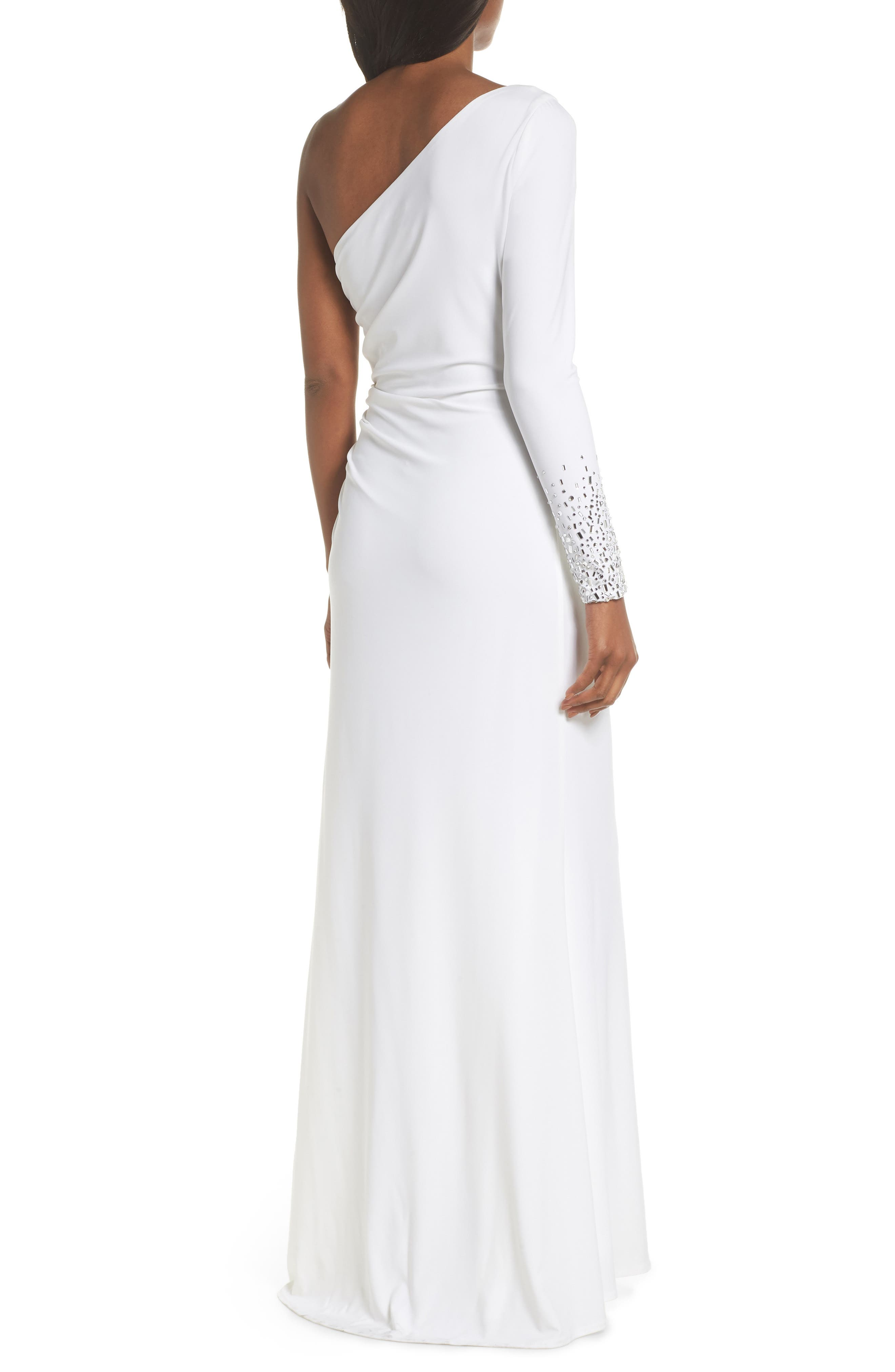One-Sleeve Side Ruched Evening Dress,                             Alternate thumbnail 2, color,                             IVORY