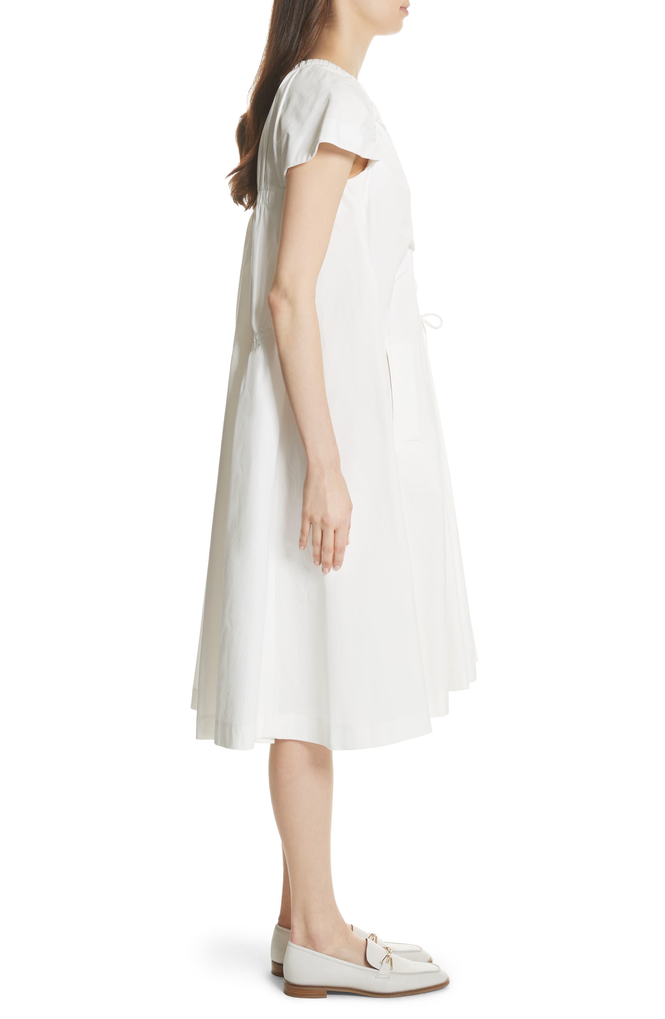 Lace Up Front Poplin Dress,                             Alternate thumbnail 3, color,                             100