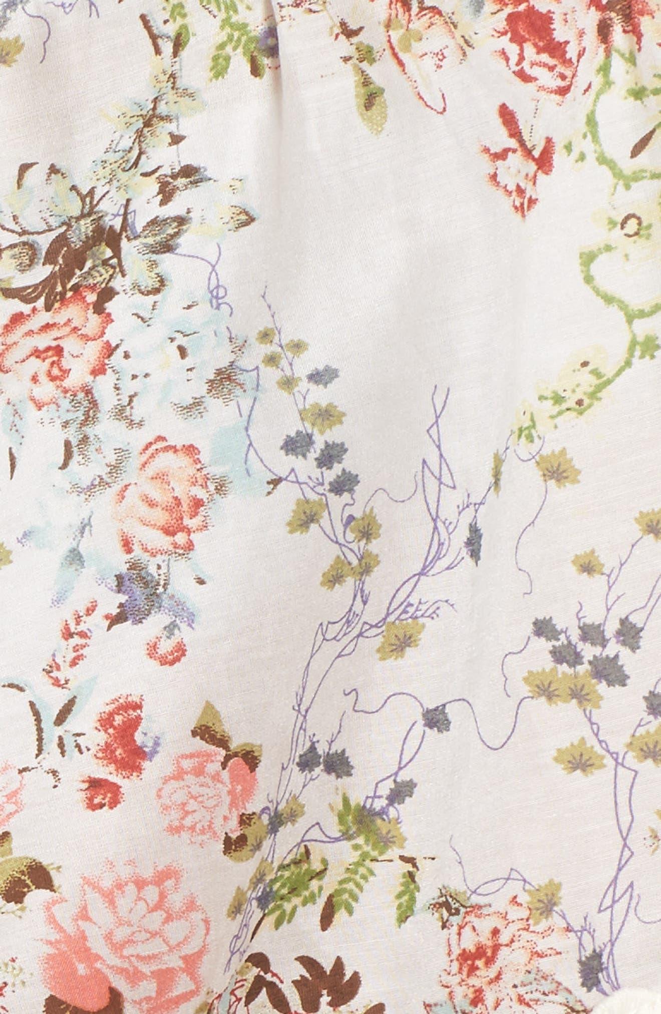 Yolly Floral Pajama Shorts,                             Alternate thumbnail 5, color,                             IVORY FLORAL