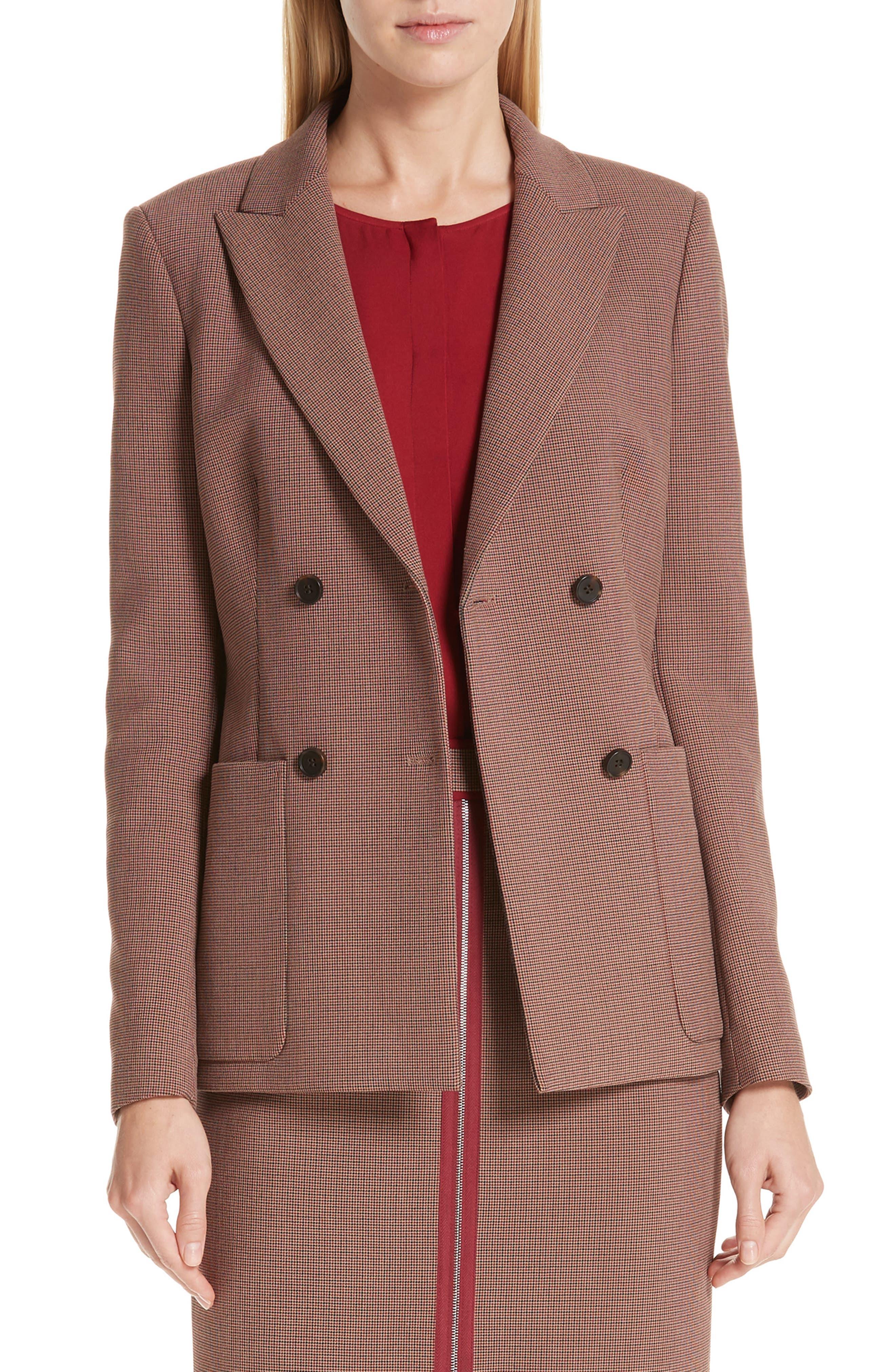 Joliviena Check Suit Jacket,                             Main thumbnail 1, color,                             DARK RED CHECK