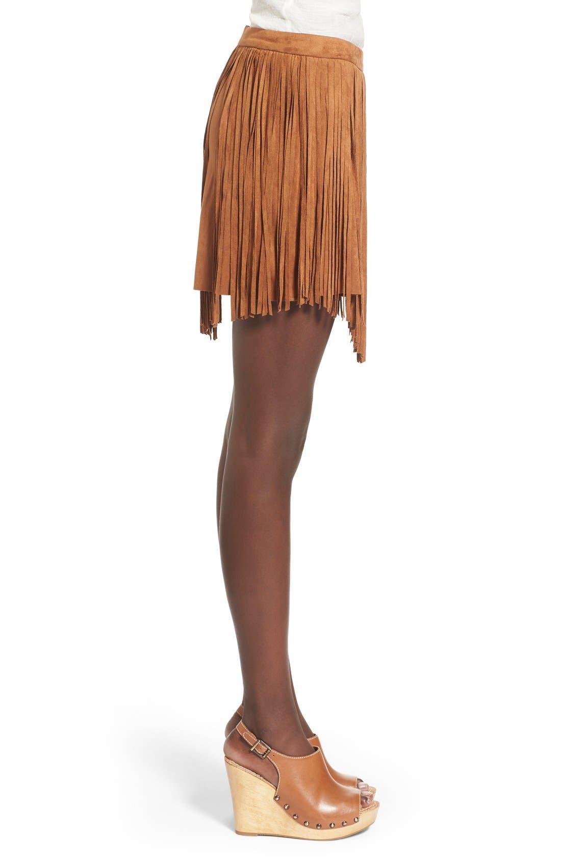 Fringe FauxSuede Skirt,                             Alternate thumbnail 2, color,