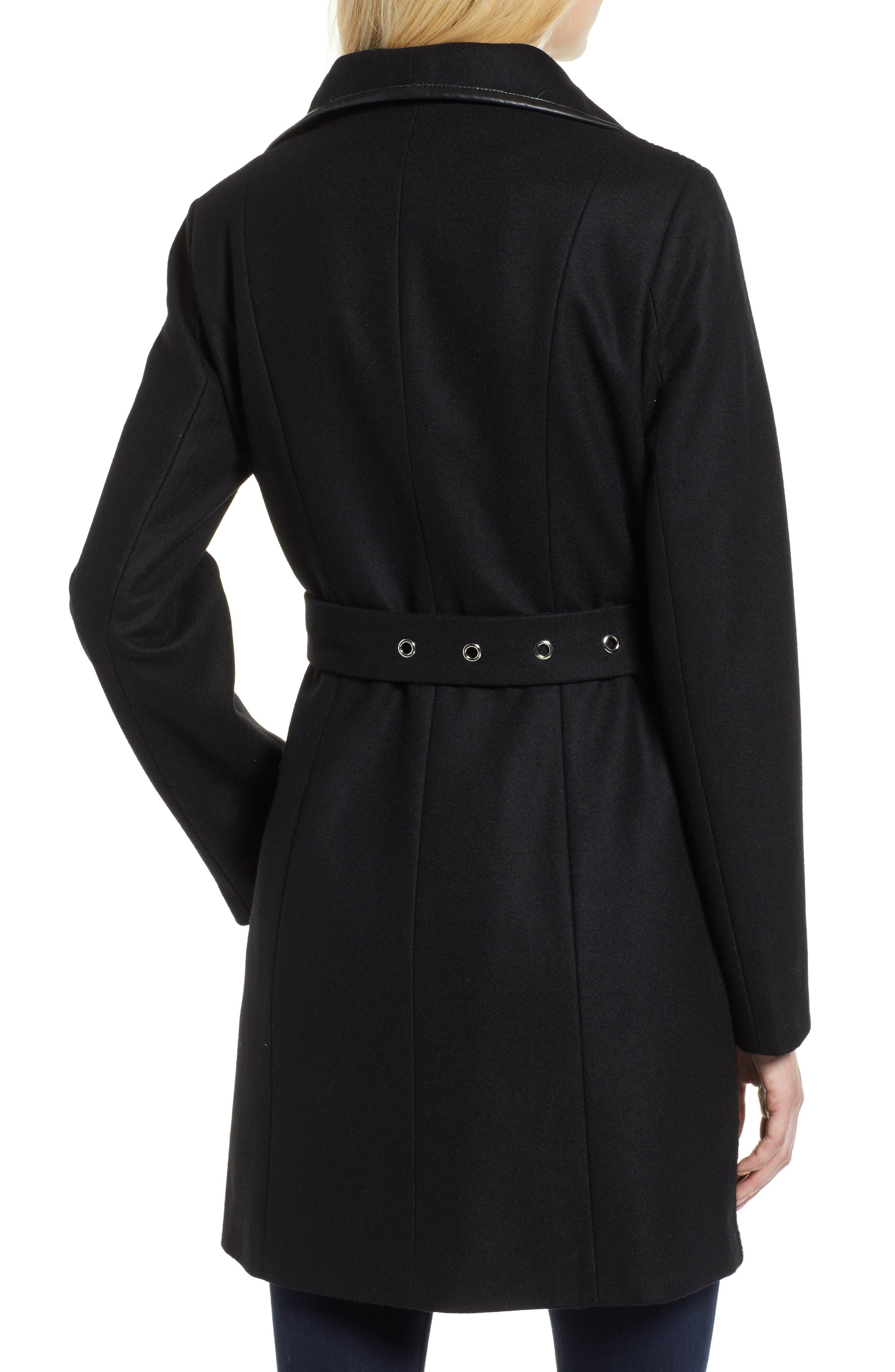 Elaine Boiled Wool Blend Coat,                             Alternate thumbnail 2, color,                             BLACK