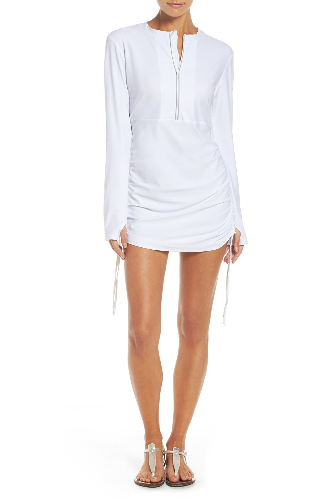 'Sonja' Long Sleeve Half Zip Convertible Swimdress,                             Main thumbnail 3, color,