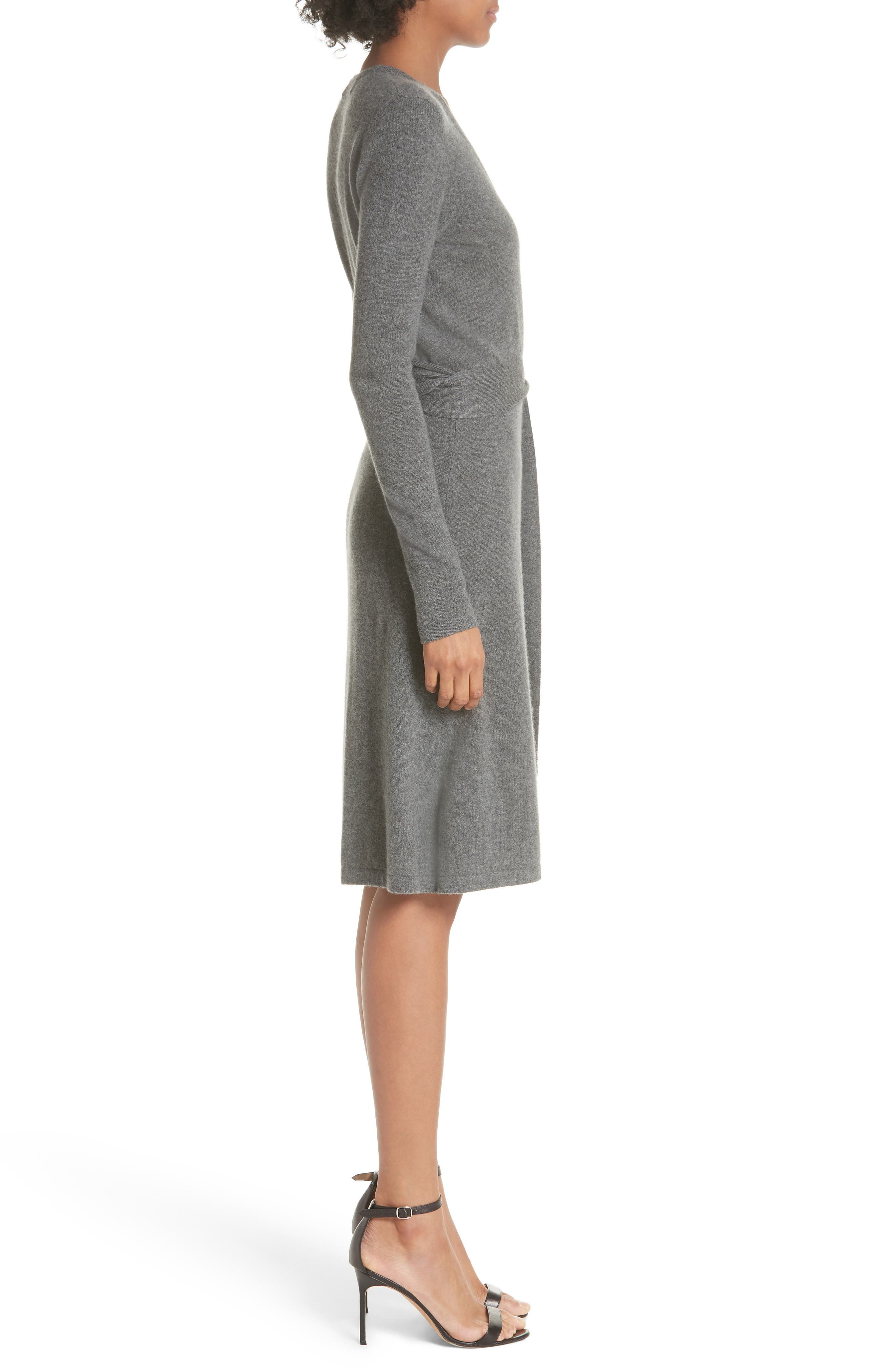 Diane Von Furstenberg Linda Cashmere Wrap Dress,                             Alternate thumbnail 3, color,                             001