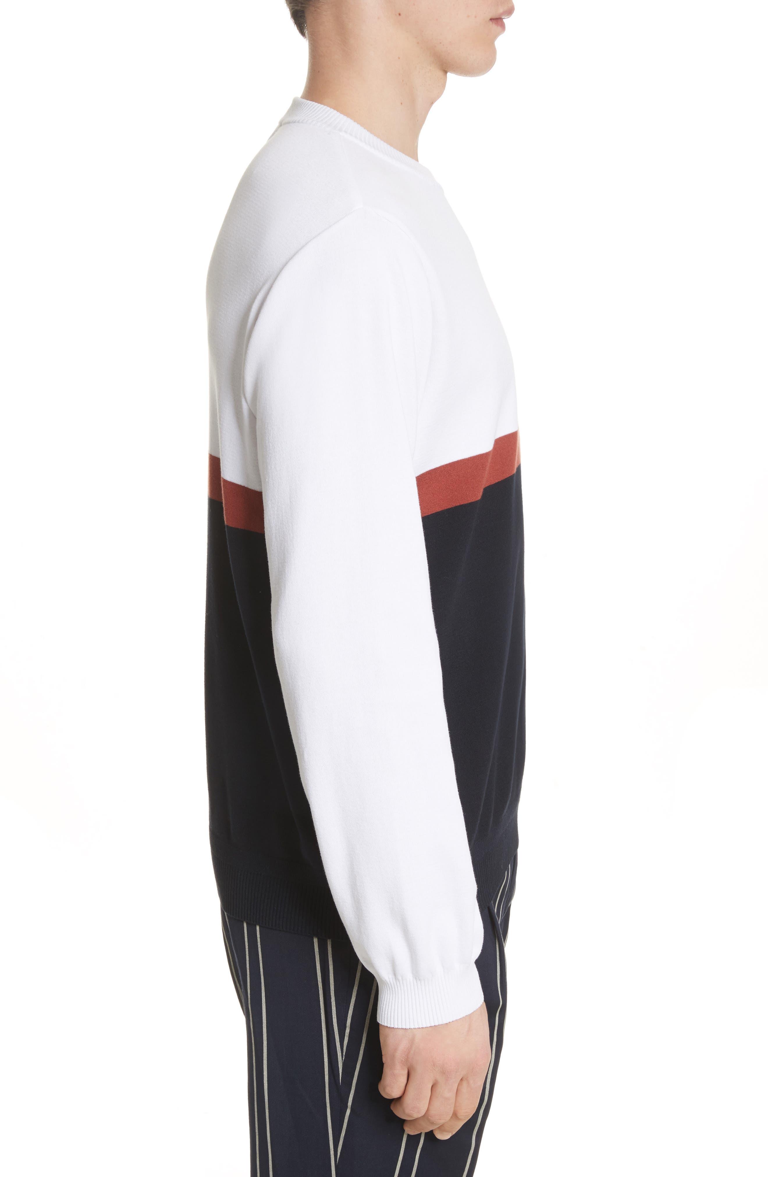 Colorblock Crewneck Sweater,                             Alternate thumbnail 3, color,                             100
