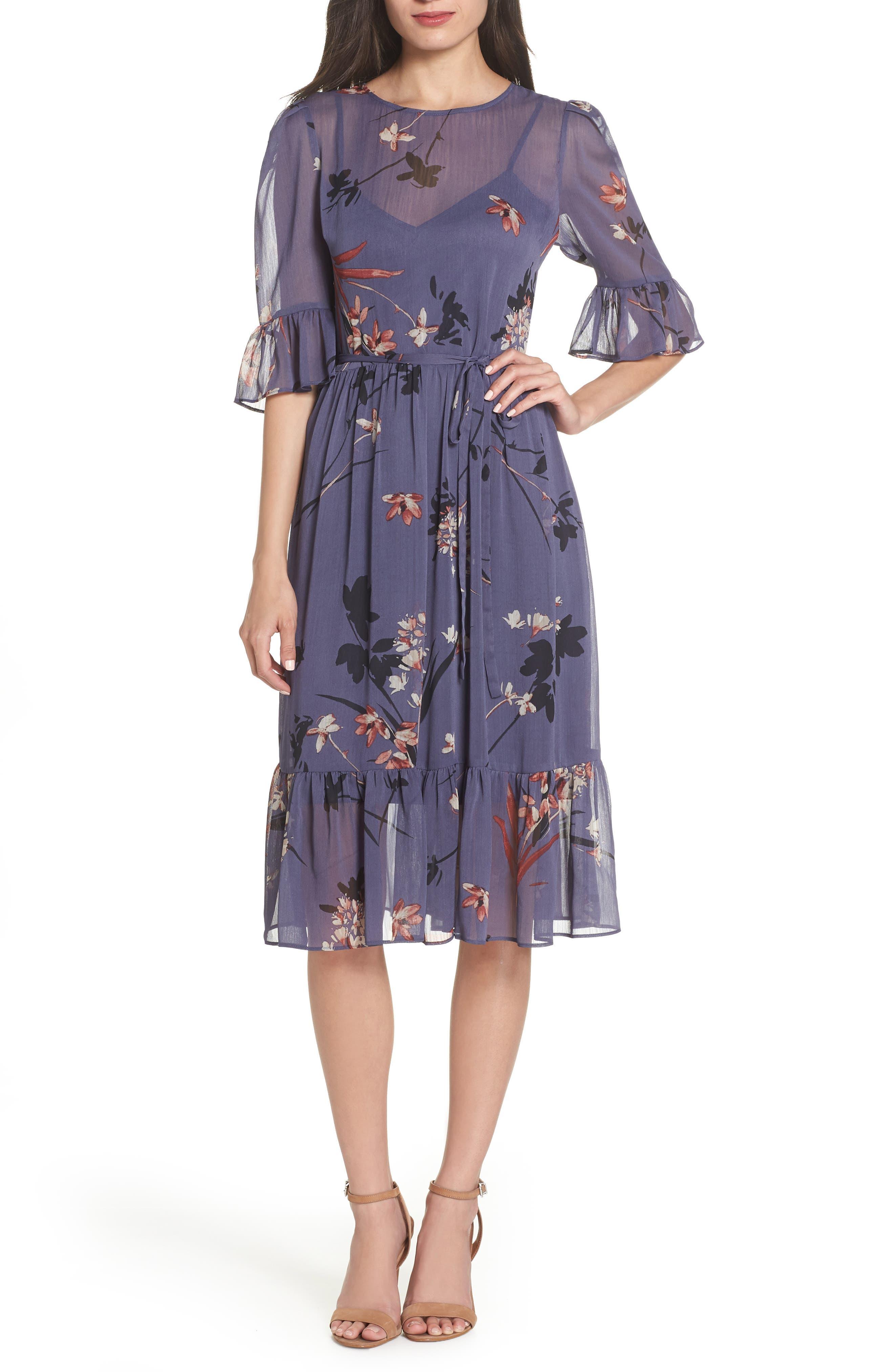 Floral Chiffon Midi Dress,                             Main thumbnail 1, color,                             BLUE MULTI