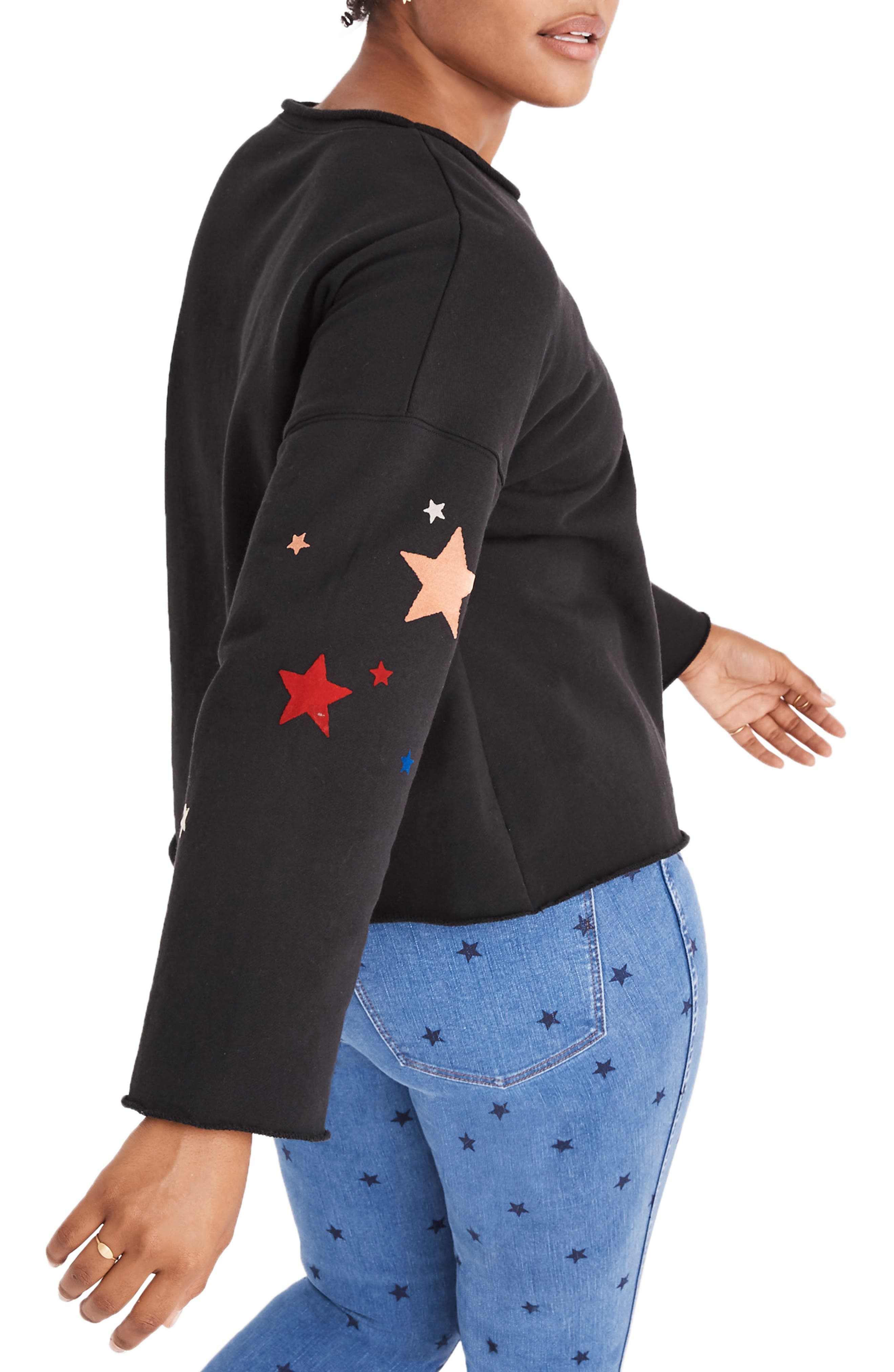 Starry Night Sweatshirt,                             Alternate thumbnail 6, color,                             CLASSIC BLACK
