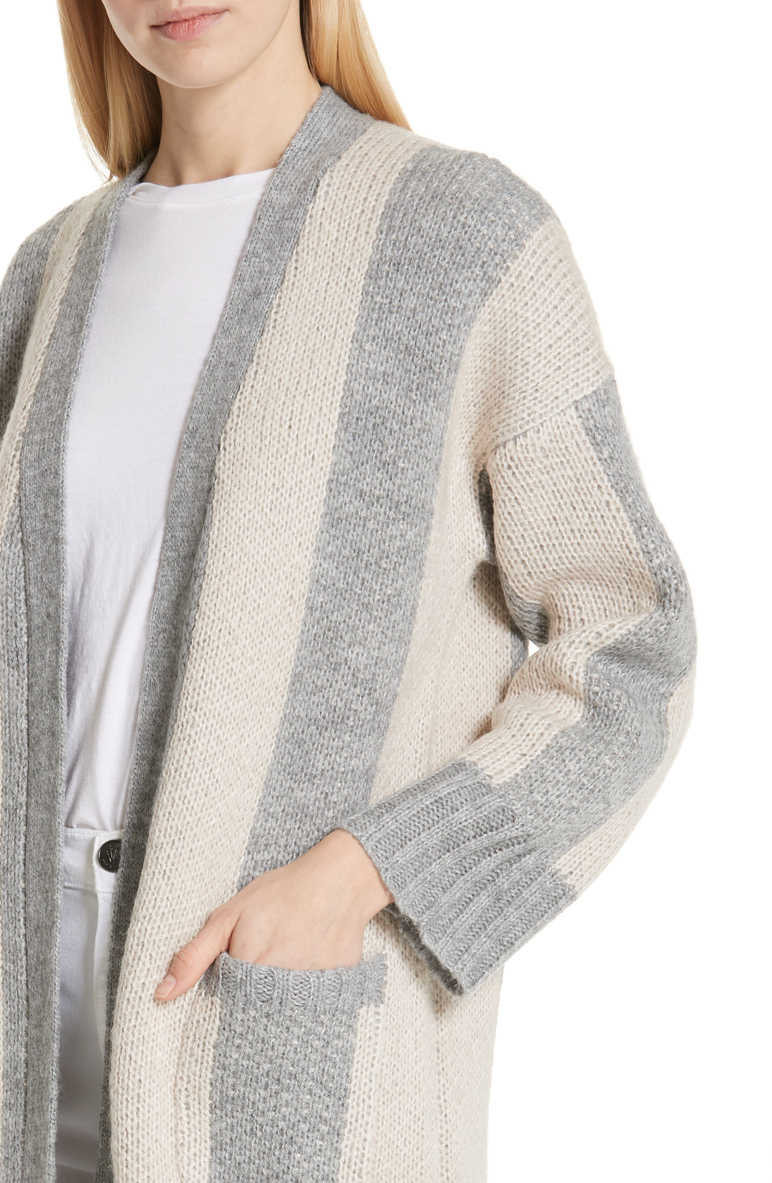 The Duster Sweater,                             Alternate thumbnail 4, color,                             HEATHER GREY STRIPE