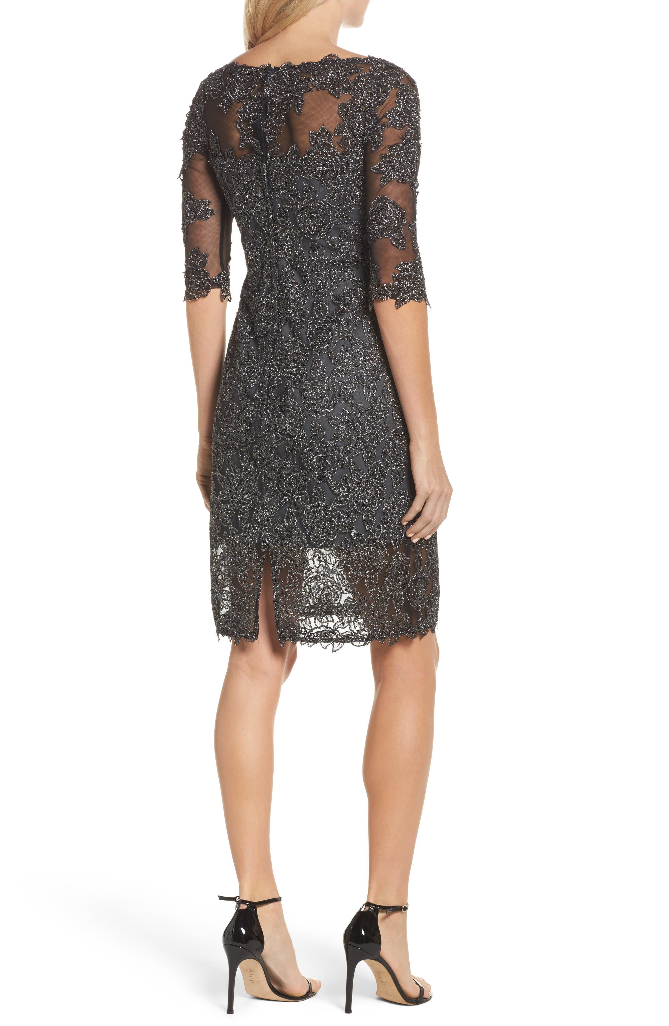Lace Sheath Dress,                             Alternate thumbnail 2, color,                             GUNMETAL