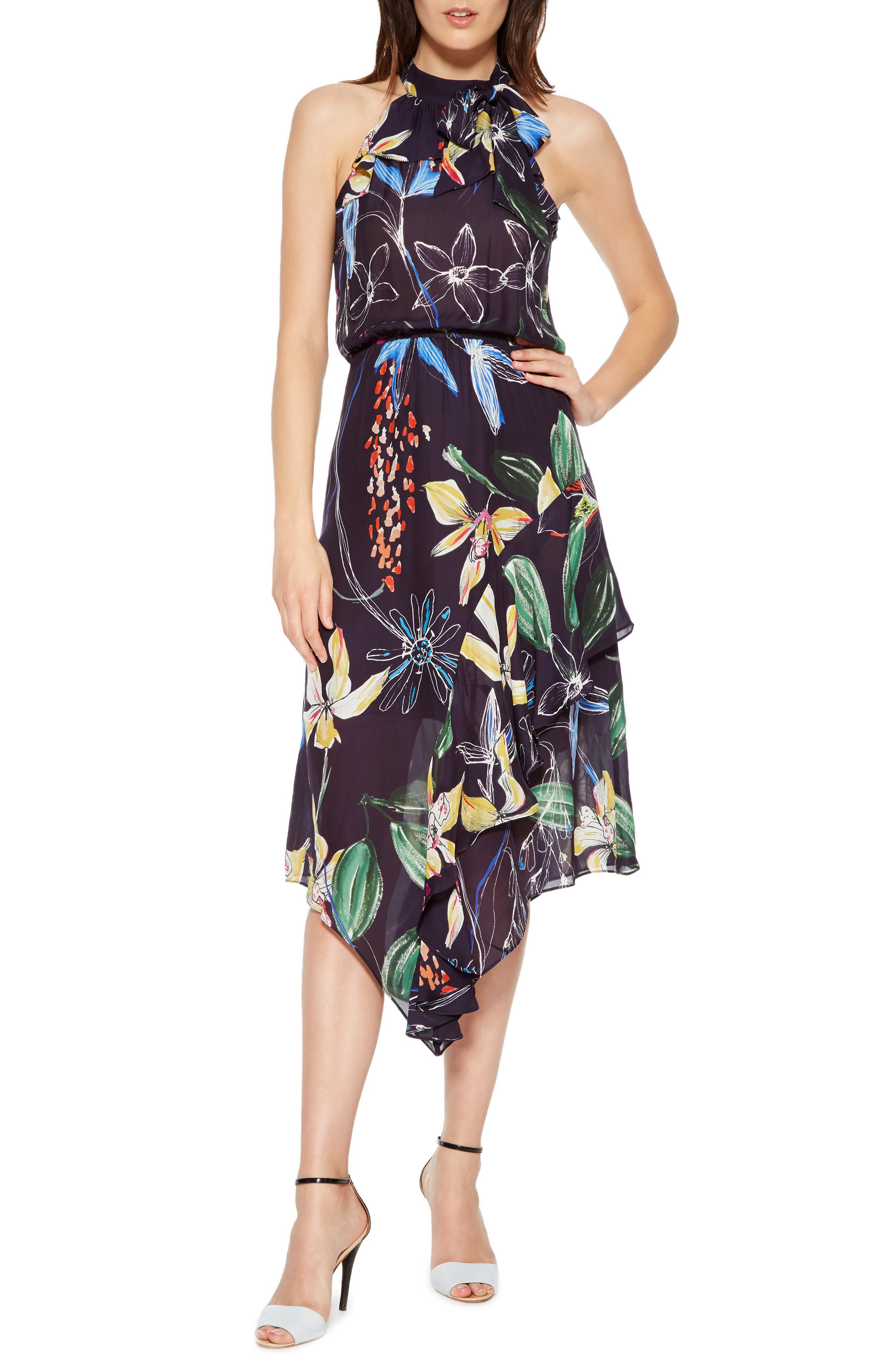 Julieta Tiered Dress,                         Main,                         color, COSMIC FLEUR