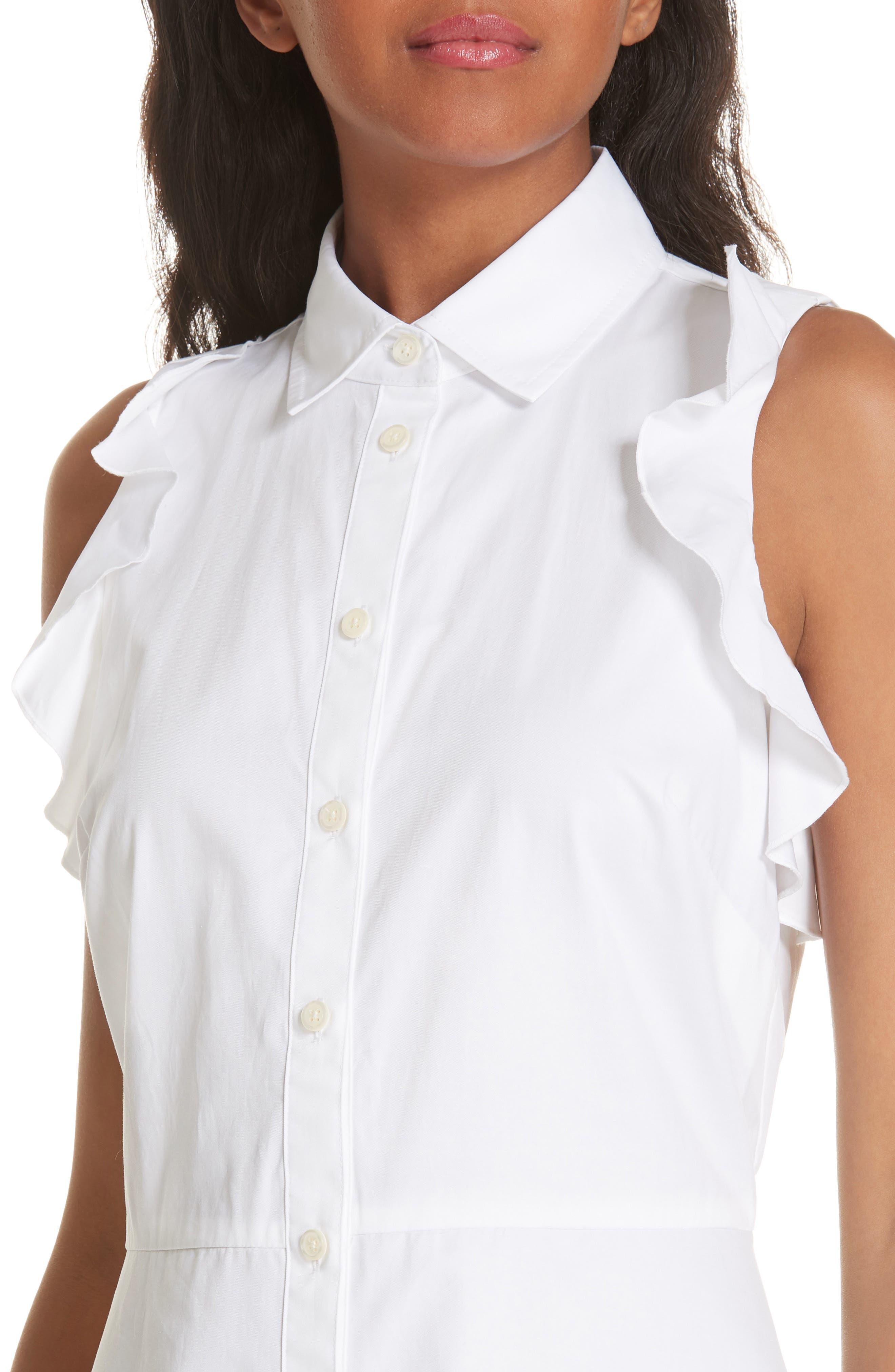 ruffle cotton poplin dress,                             Alternate thumbnail 4, color,                             107