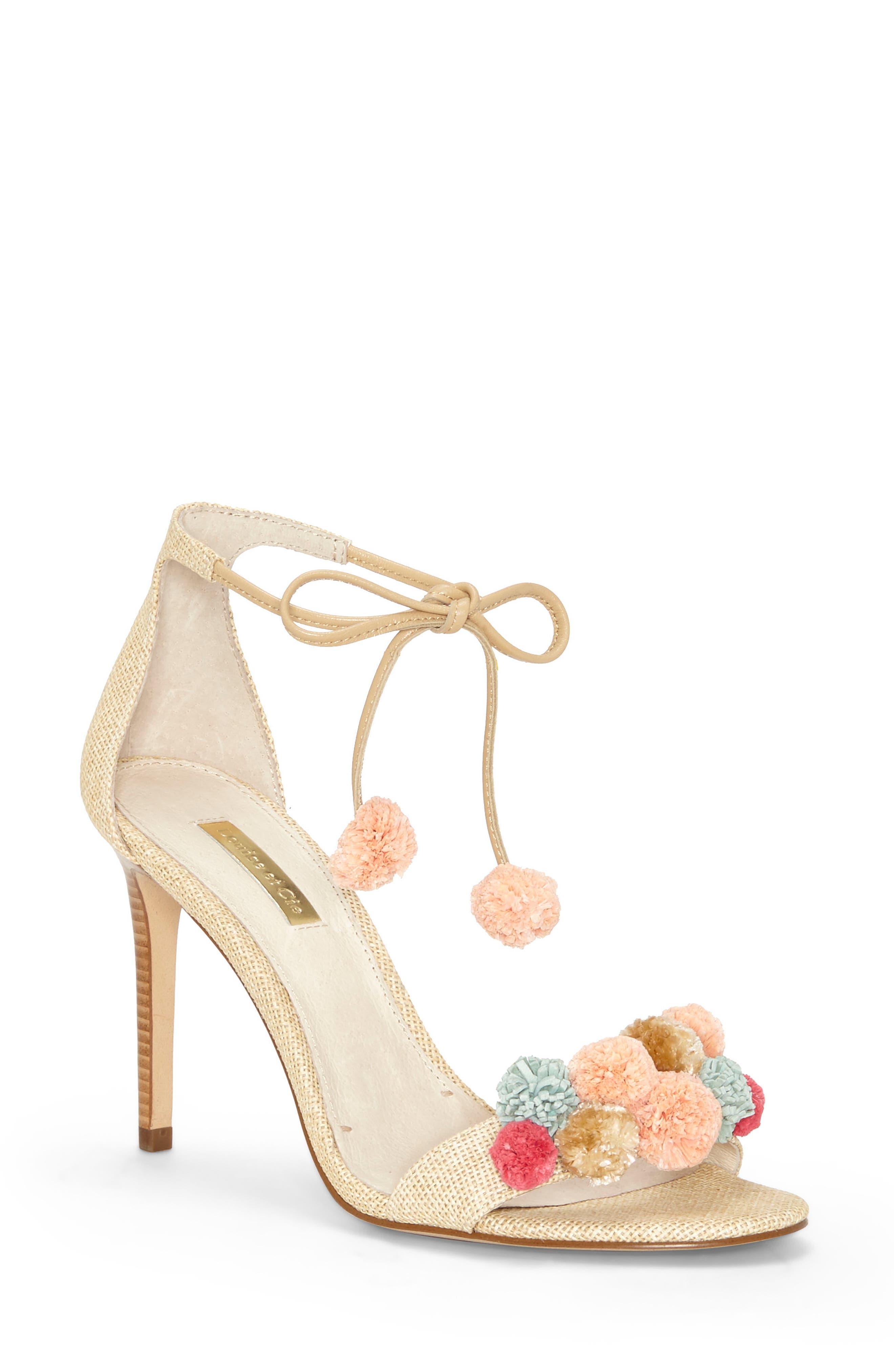 Kizzy Raffia Pompom Sandal,                         Main,                         color,